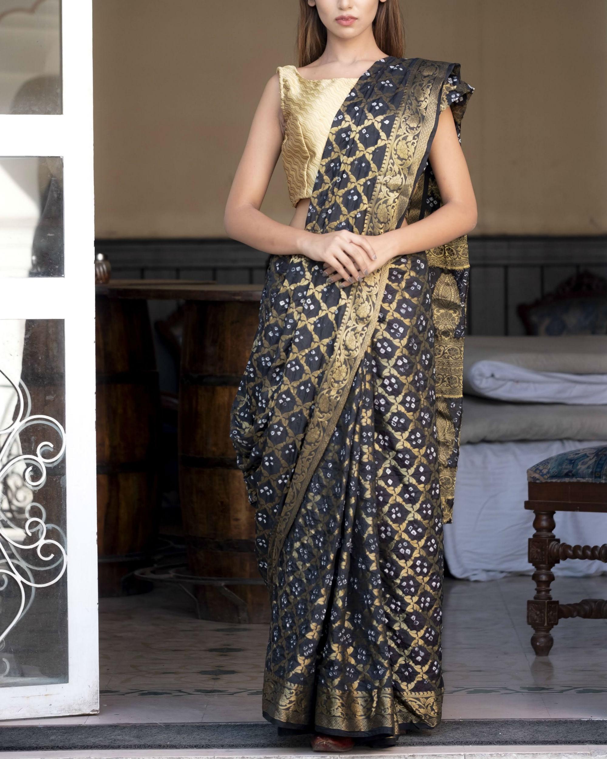 Black art silk sari with blouse