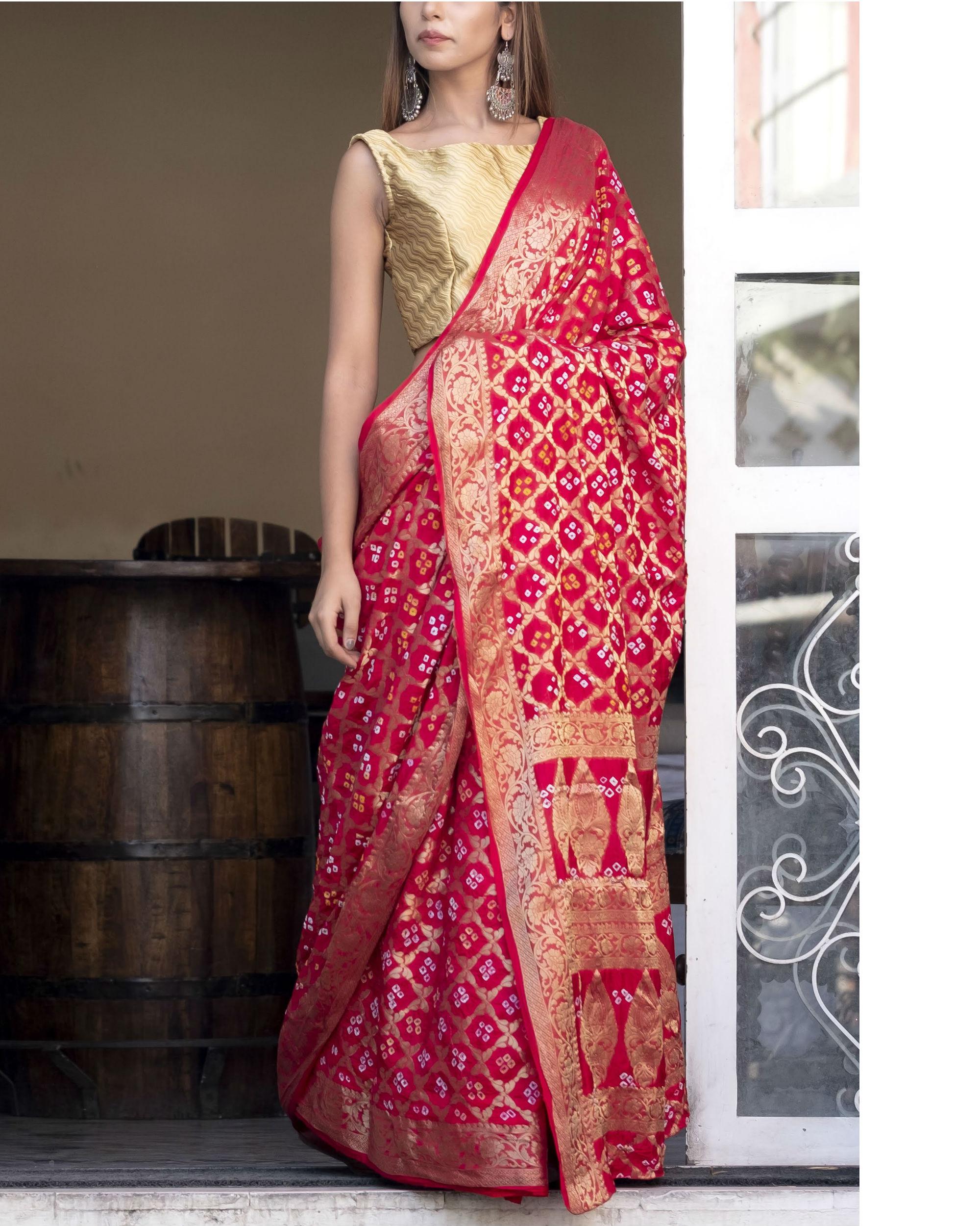Red art silk sari with blouse