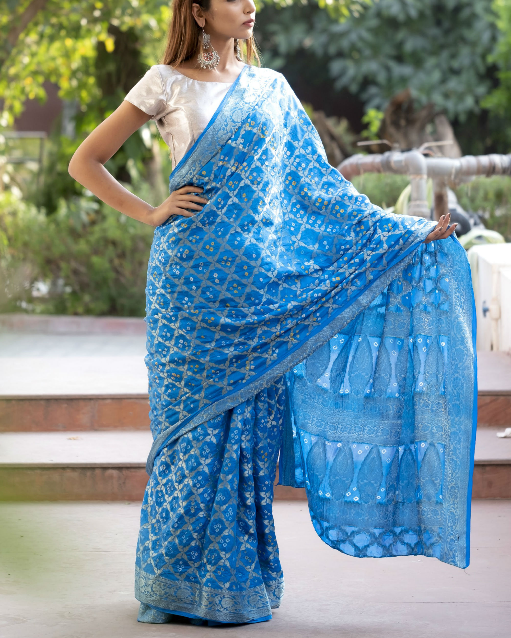 Blue art silk sari with blouse