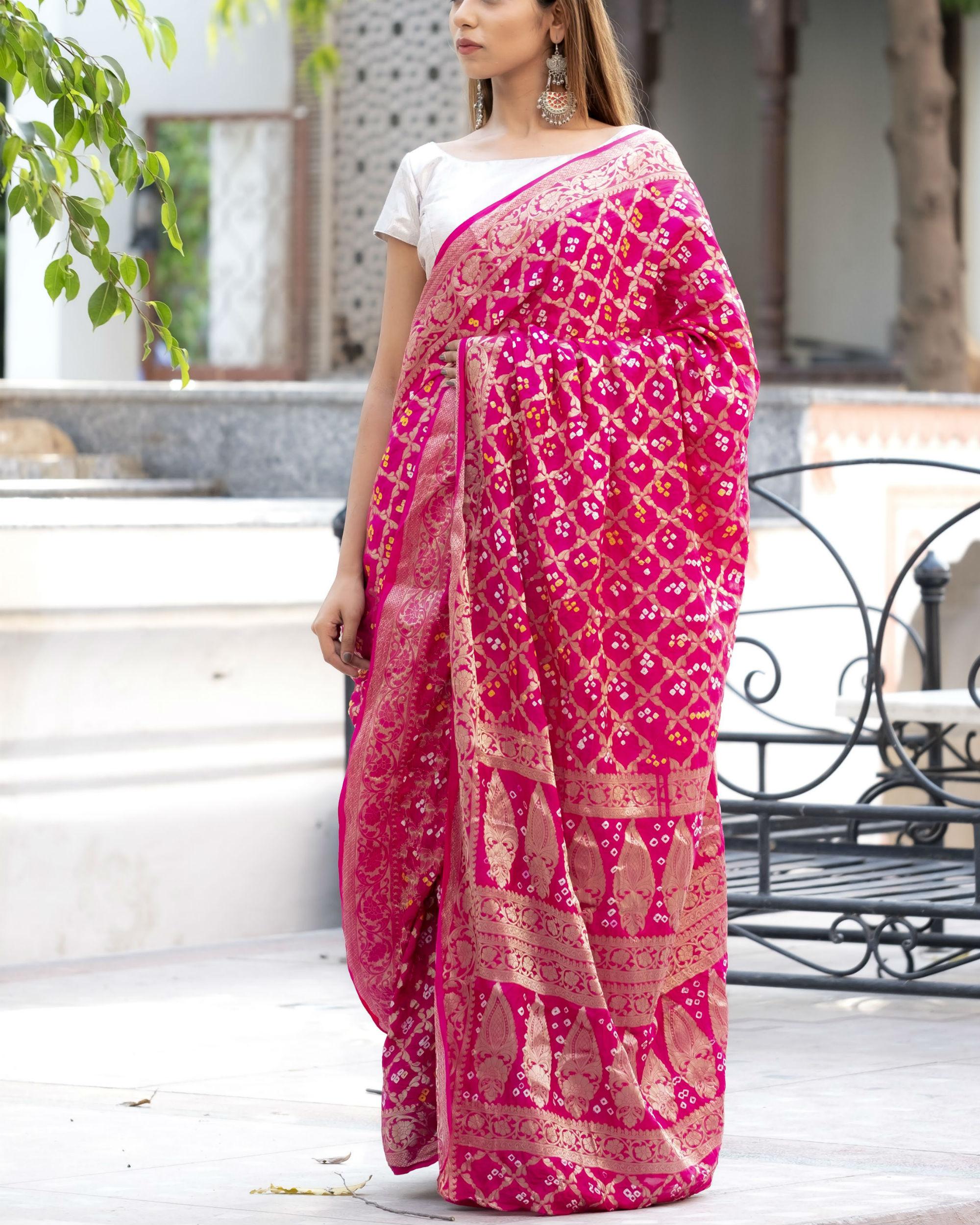 Magenta art silk sari with silver blouse