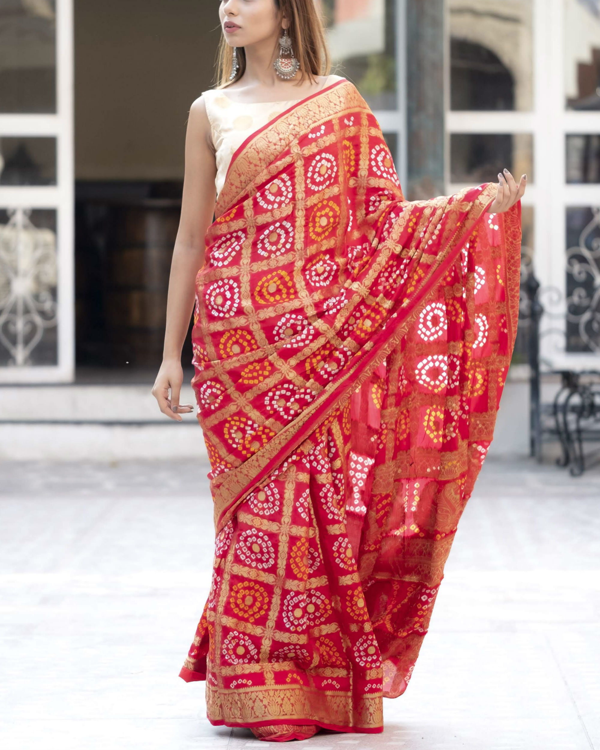Red checked sari with blouse
