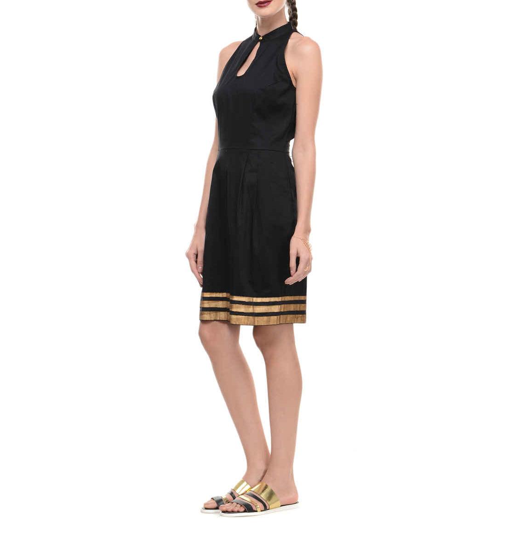 Black lycra dress with printed hemline