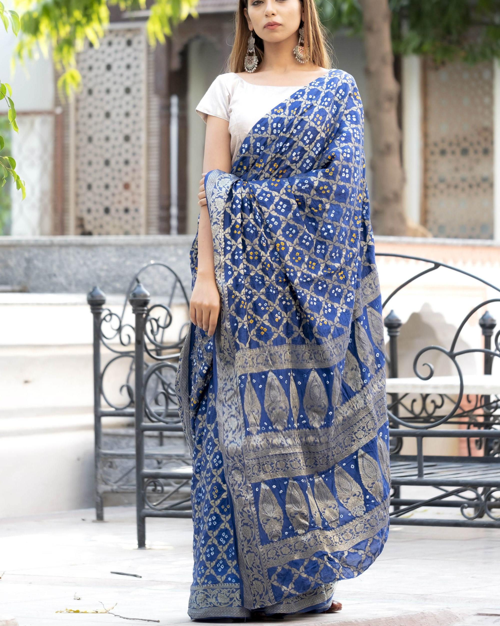 Navy blue art silk sari with silver blouse