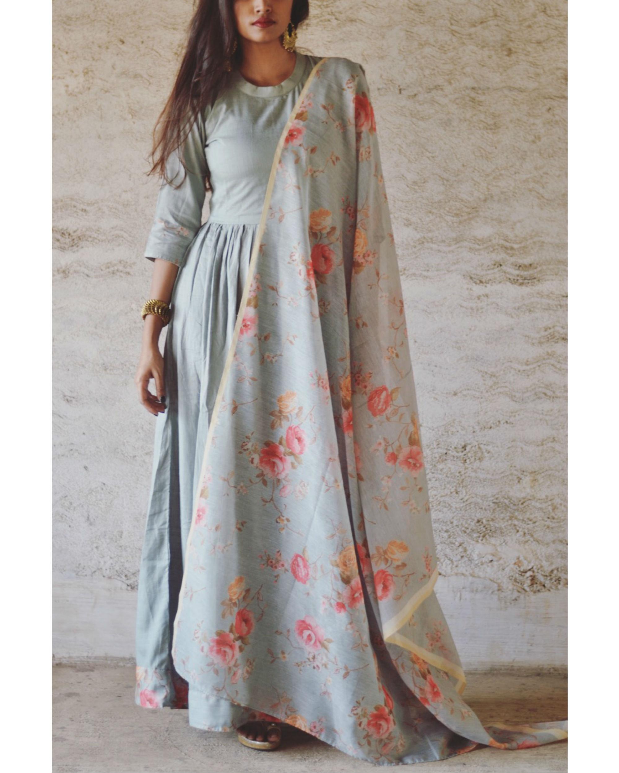 Pastel Blue Garden Print Dress