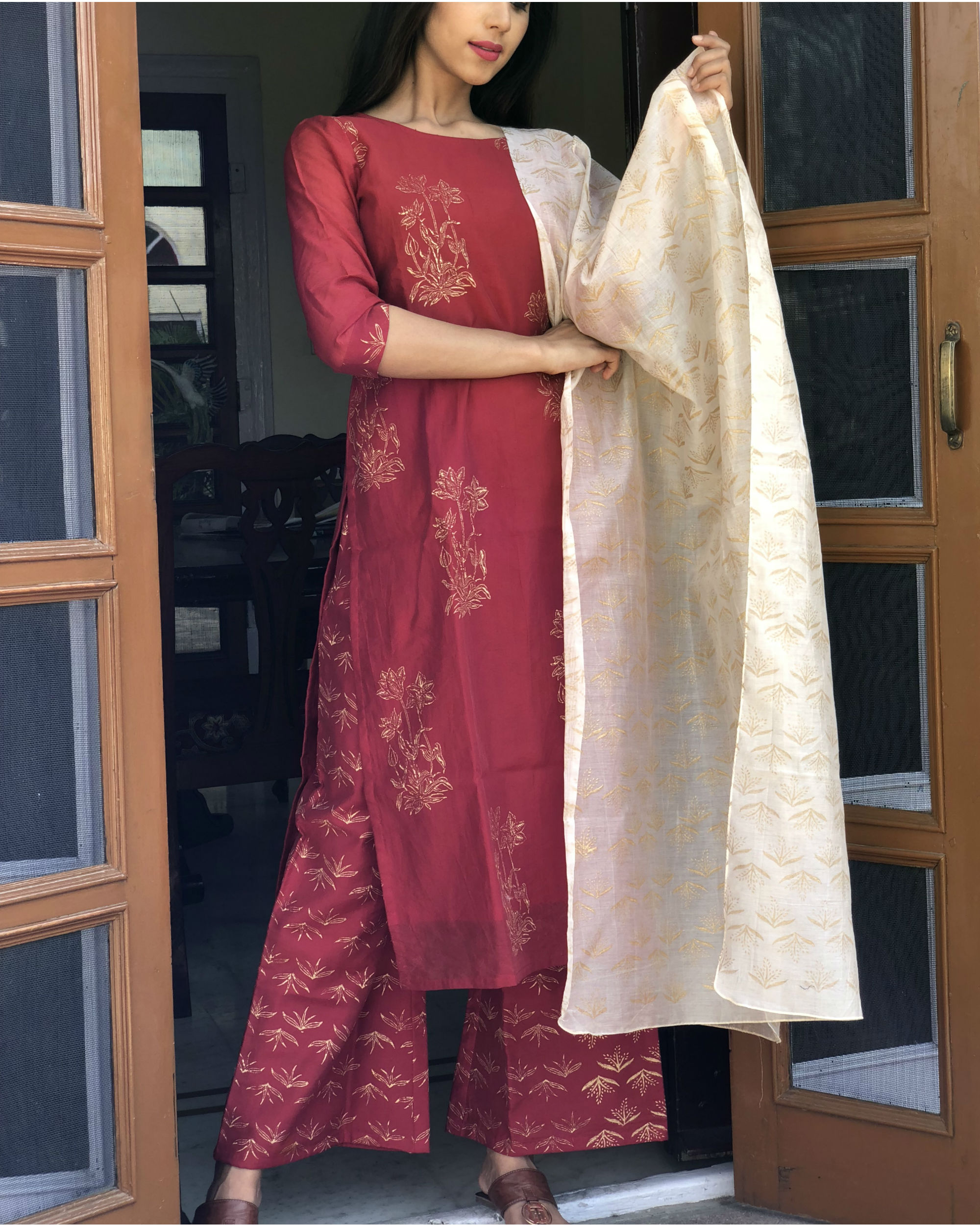 Wine and soft pink kurta set with dupatta