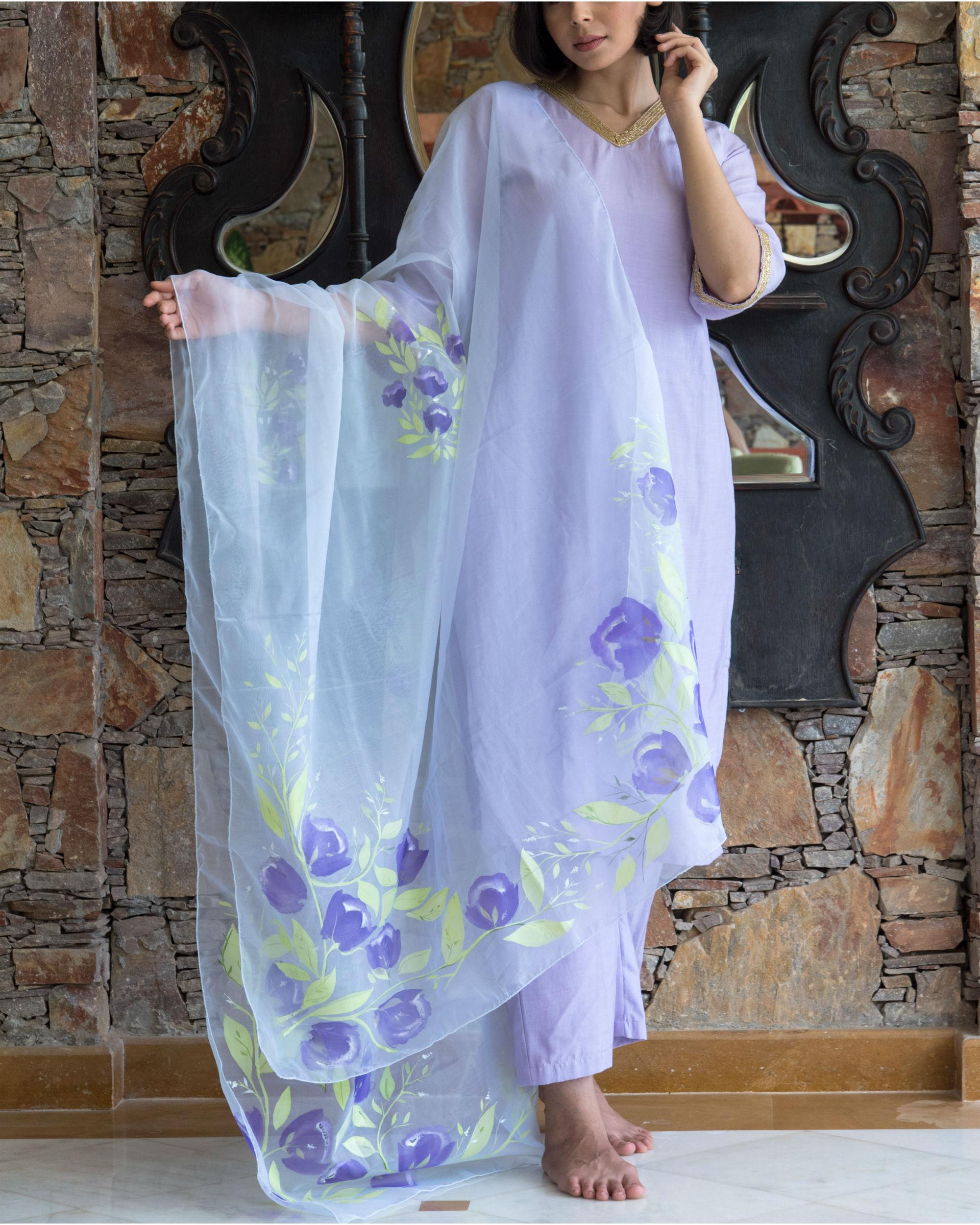 Lilac kurta set with hand painted organza dupatta