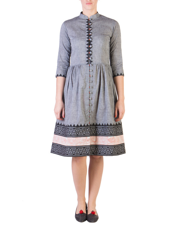 Grey mangalgiri dress with printed borders