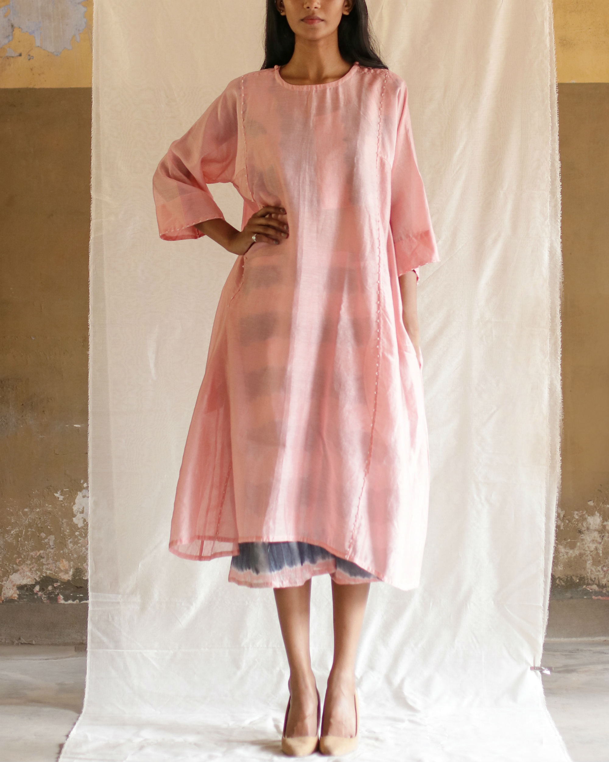 Pink tunic with crop top and culottes