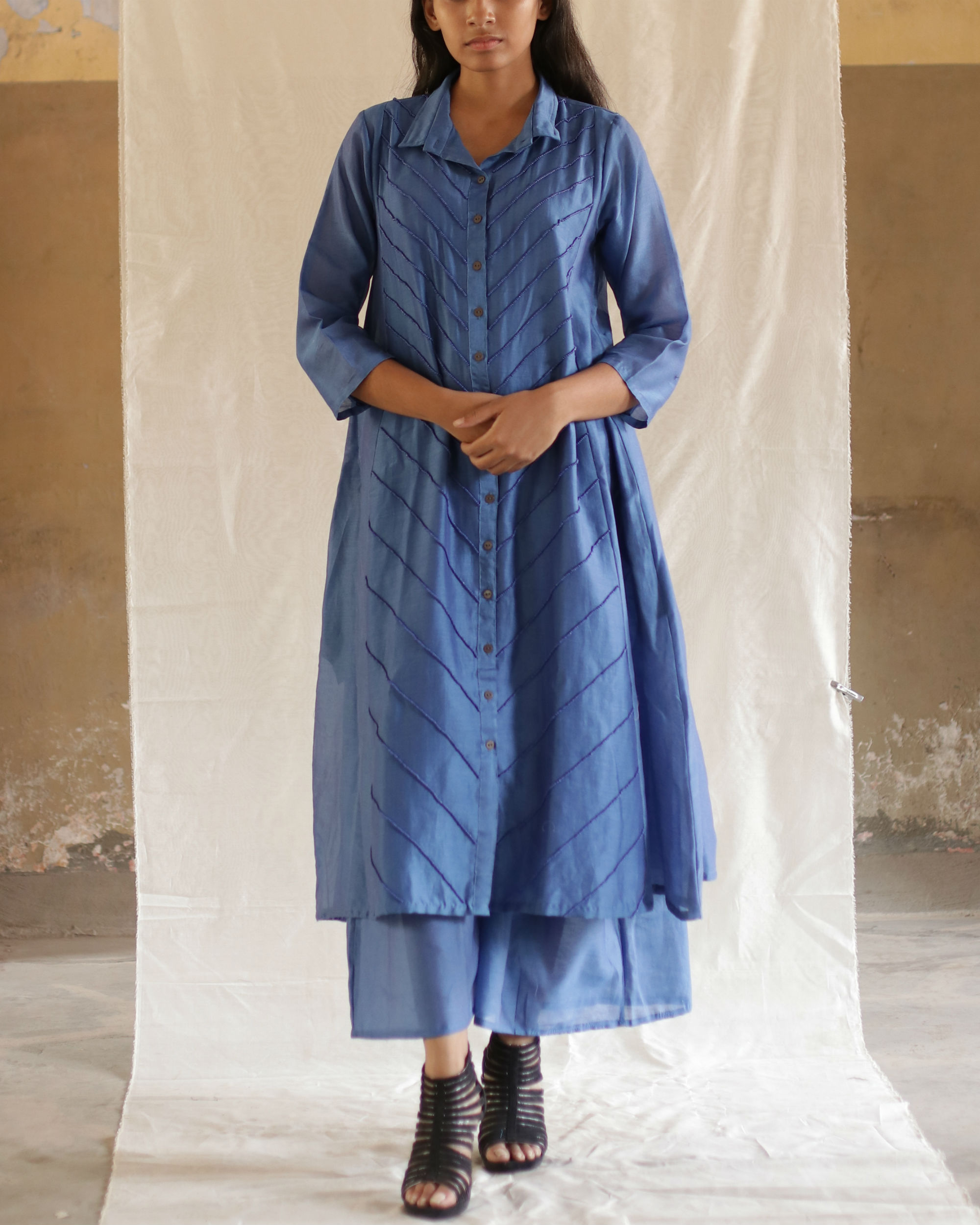 Blue bead collared tunic with pants