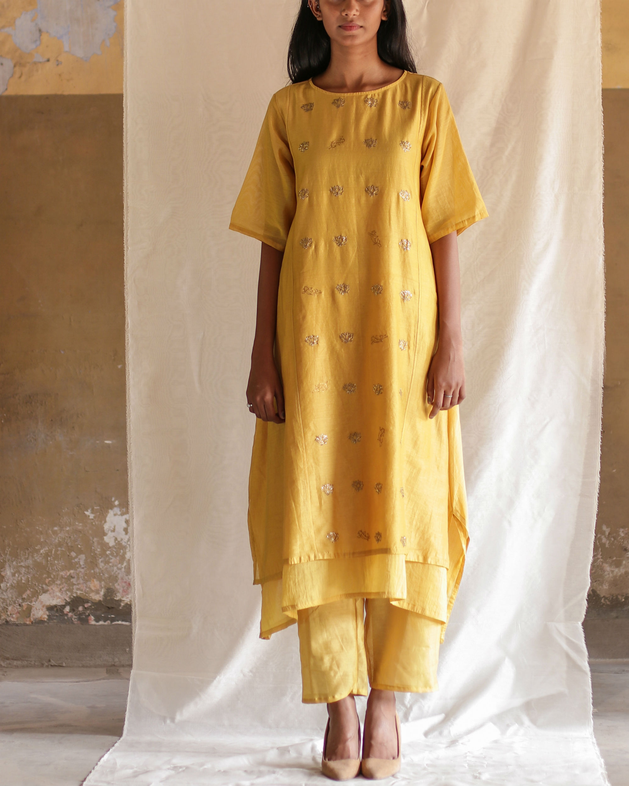 Yellow hand embroidered kurta with pants