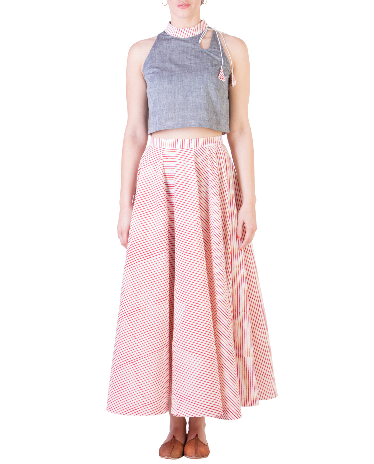 Grey mangalgiri crop top and muslin skirt with red stripes