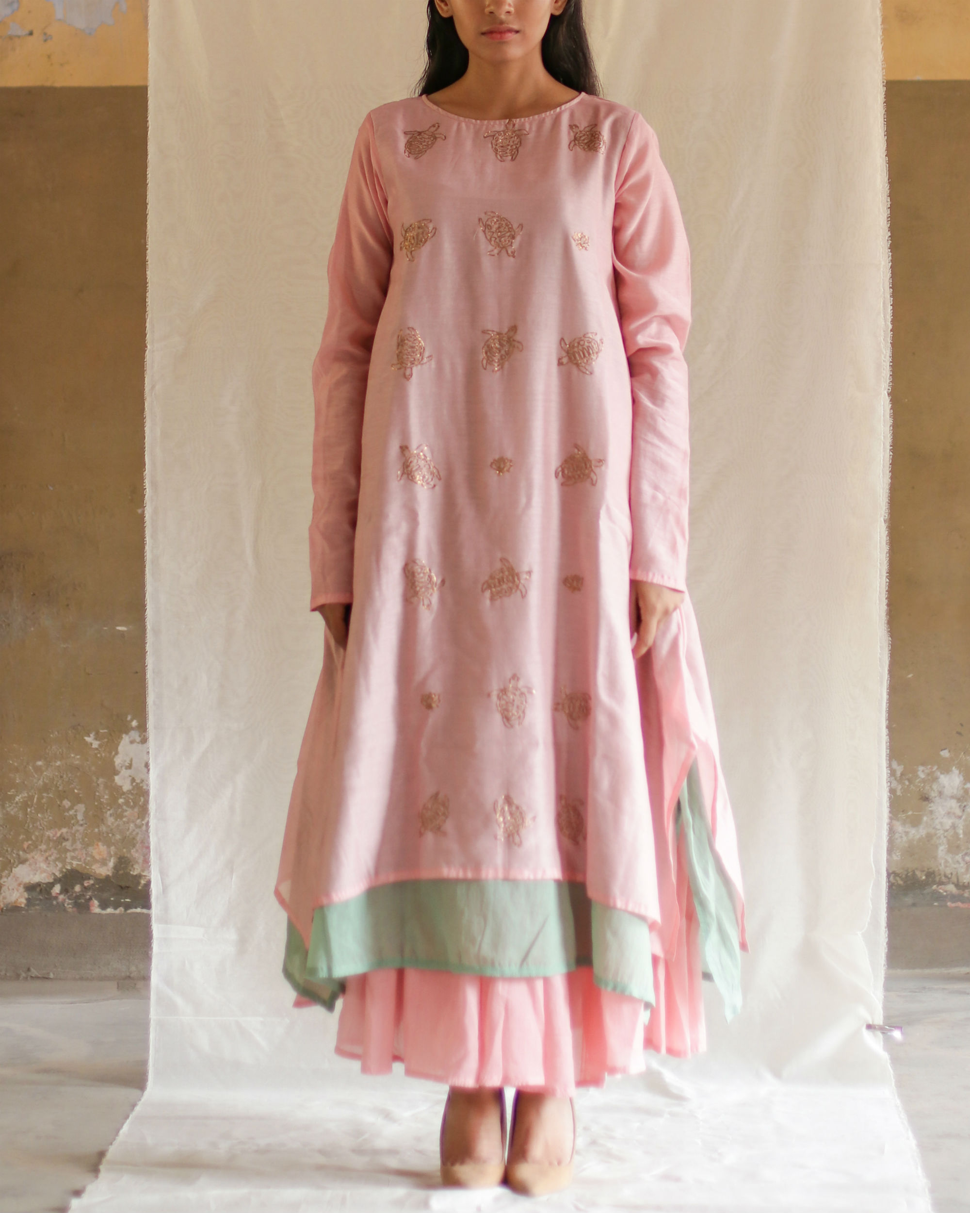 Pink green turtle tunic with skirt