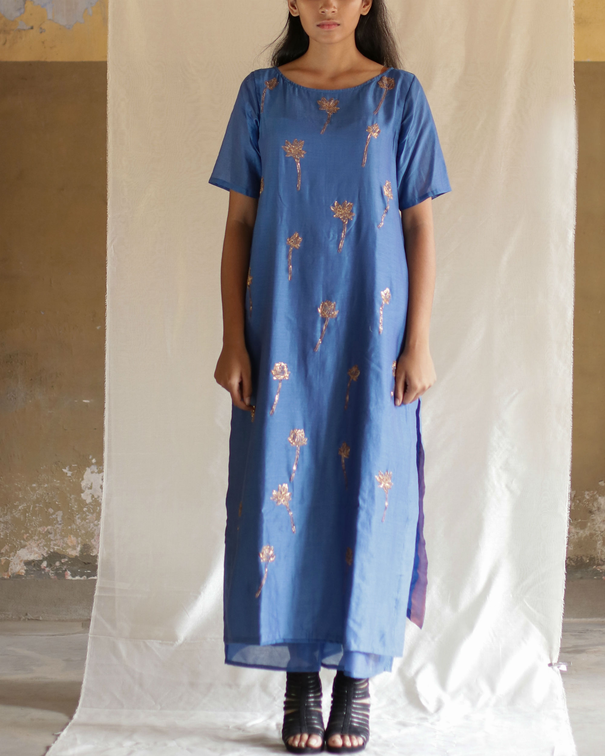 Blue lotus stem kurta with palazzos