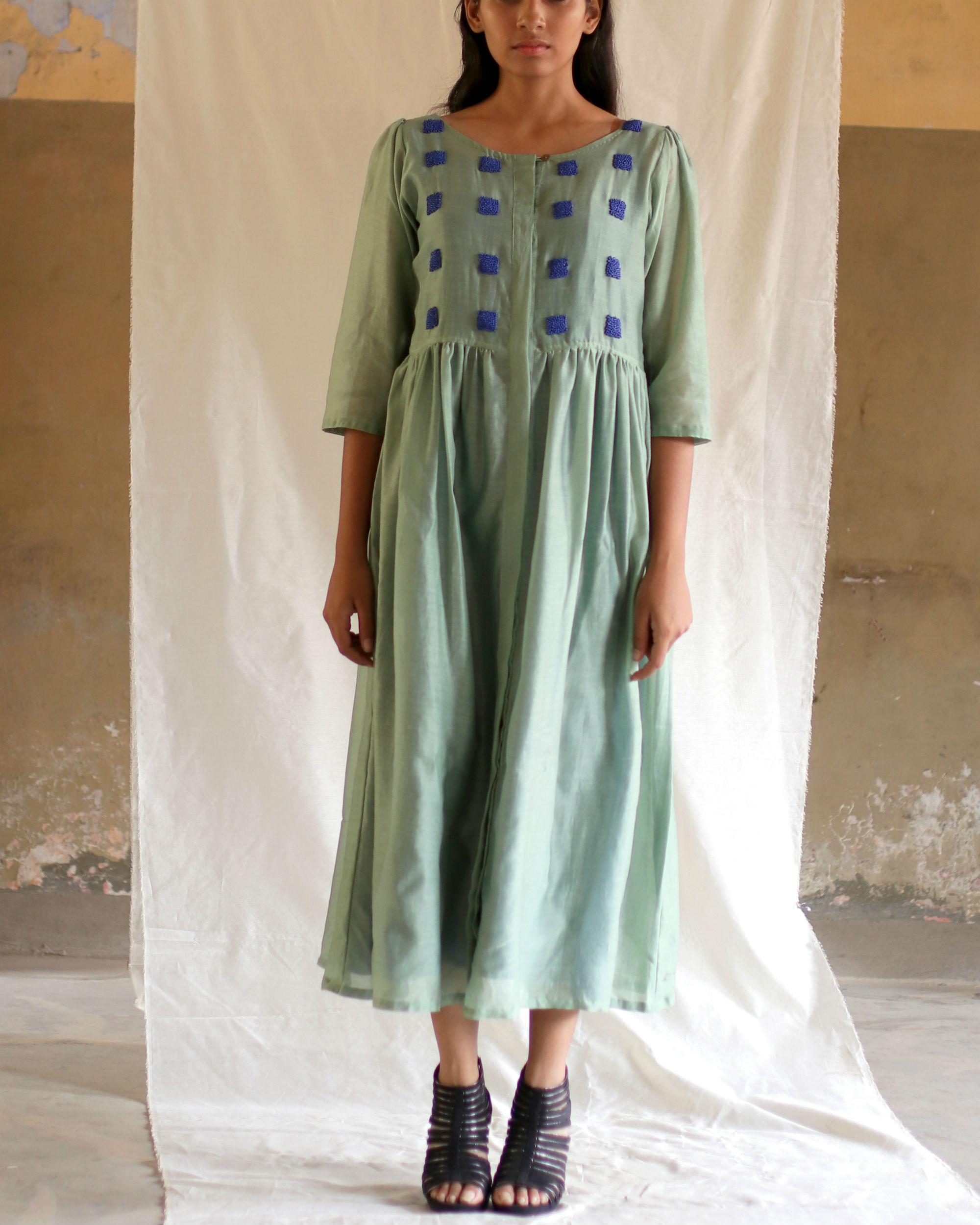 Mint green bead dress with blue slip