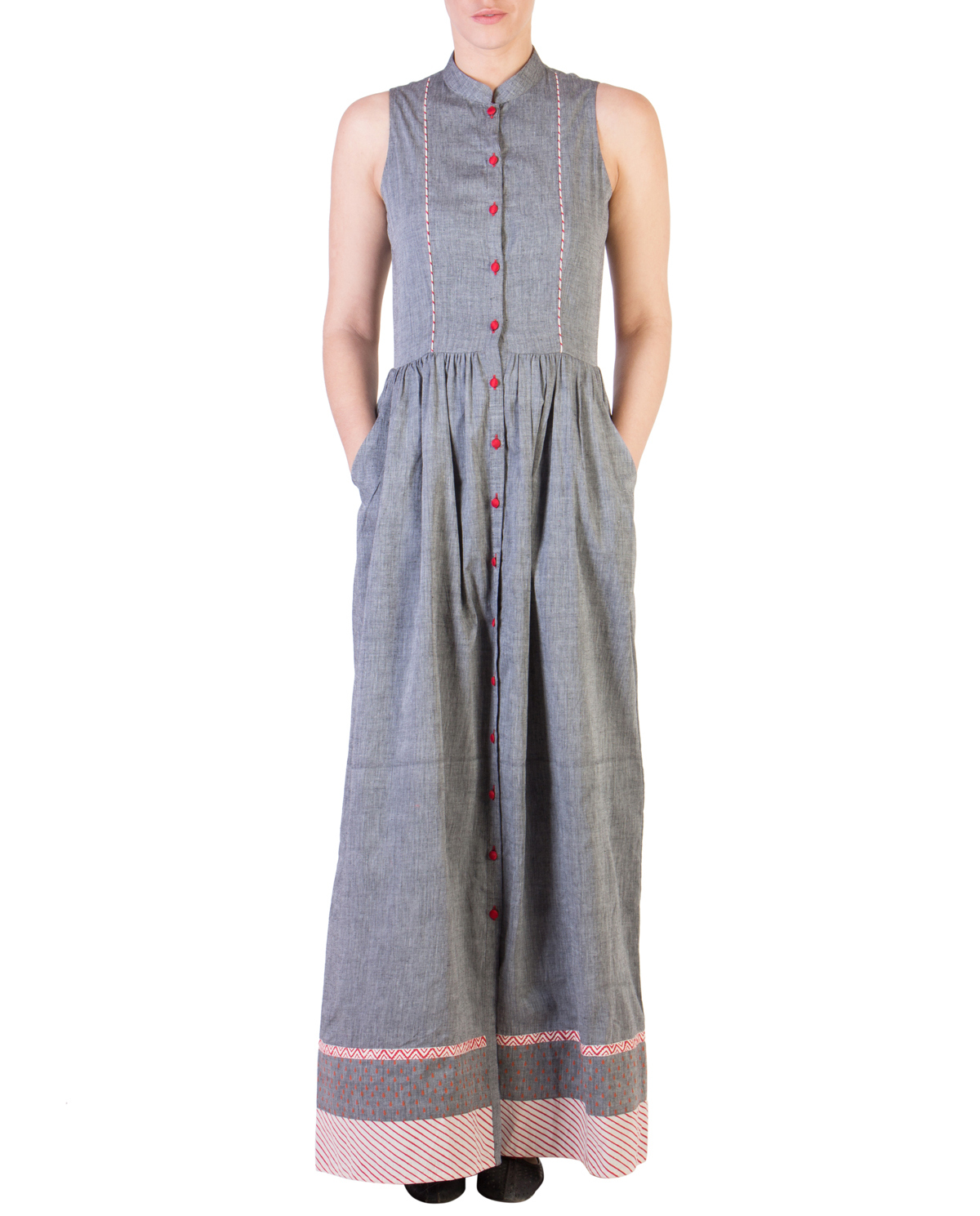 Grey mangalgiri maxi with red detailing