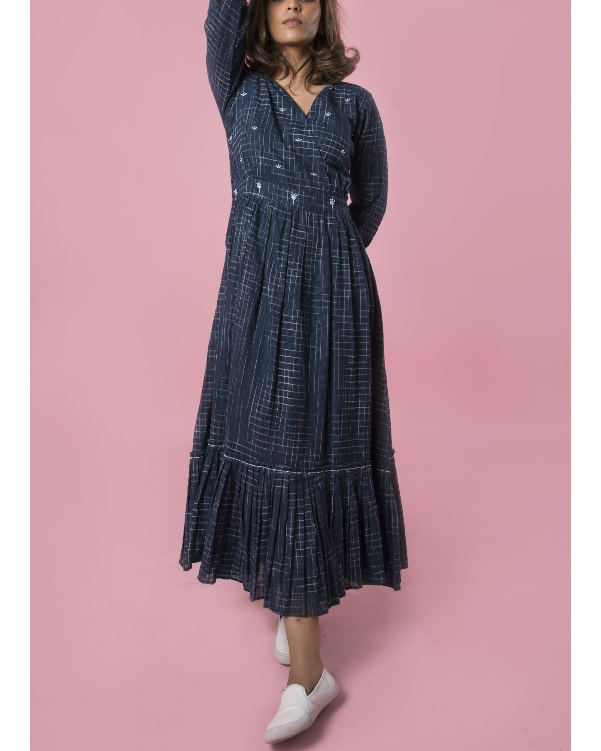Indigo tiered maxi dress