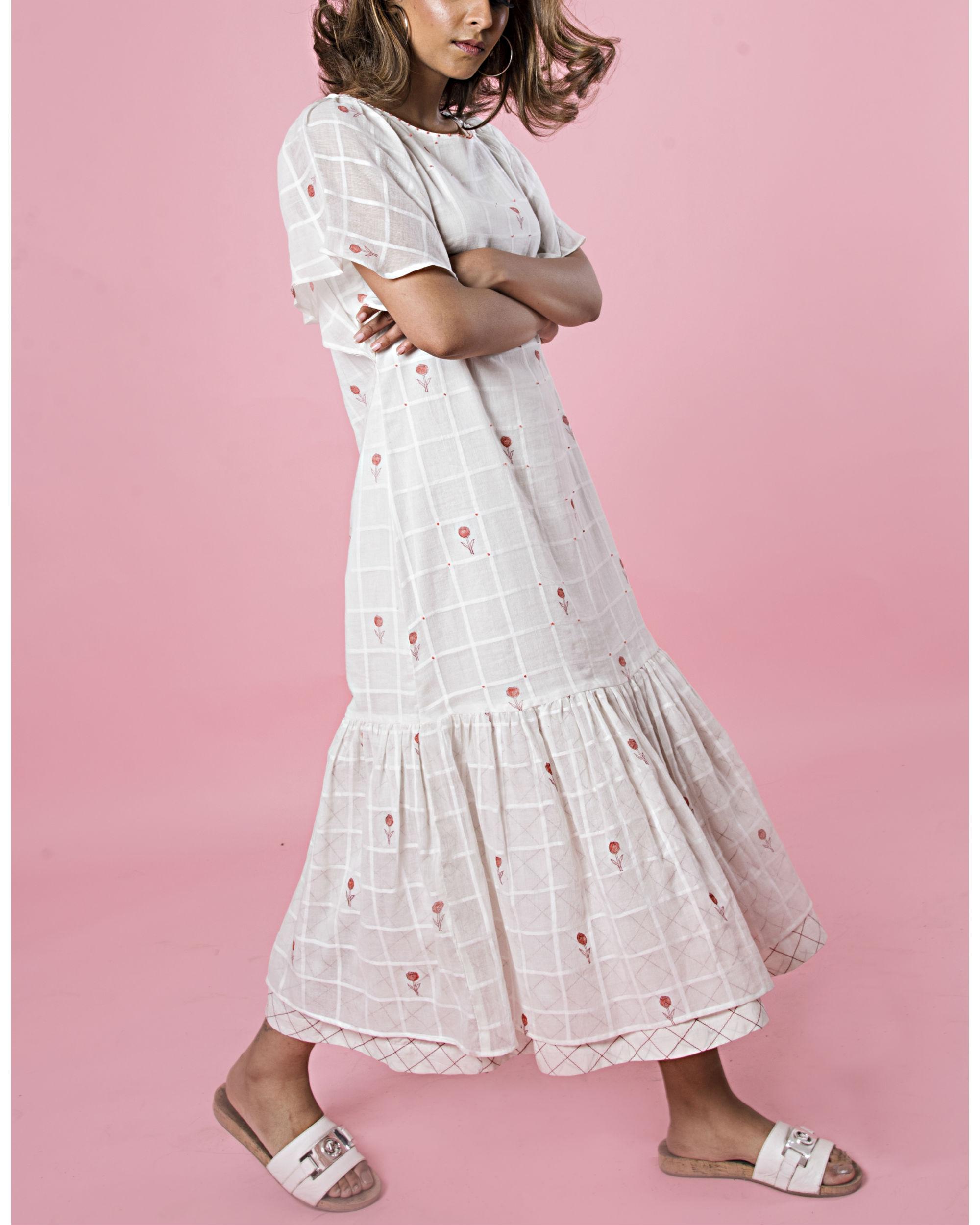 White peach trumpet dress