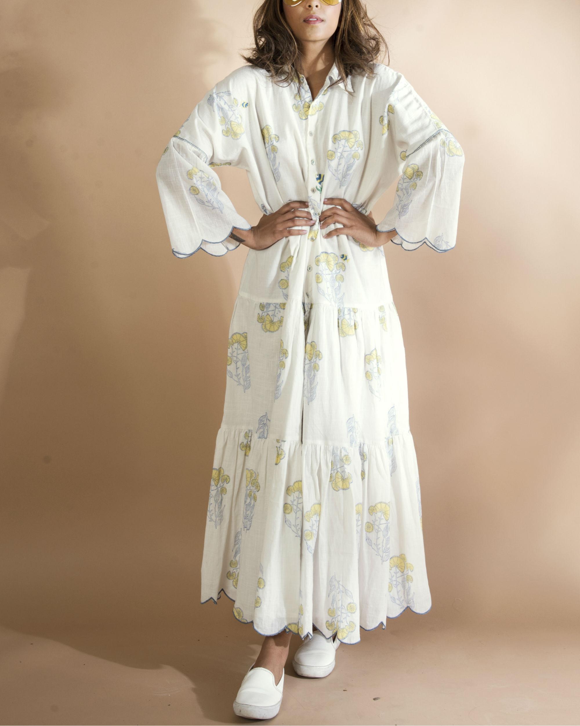 White kimono shirt dress