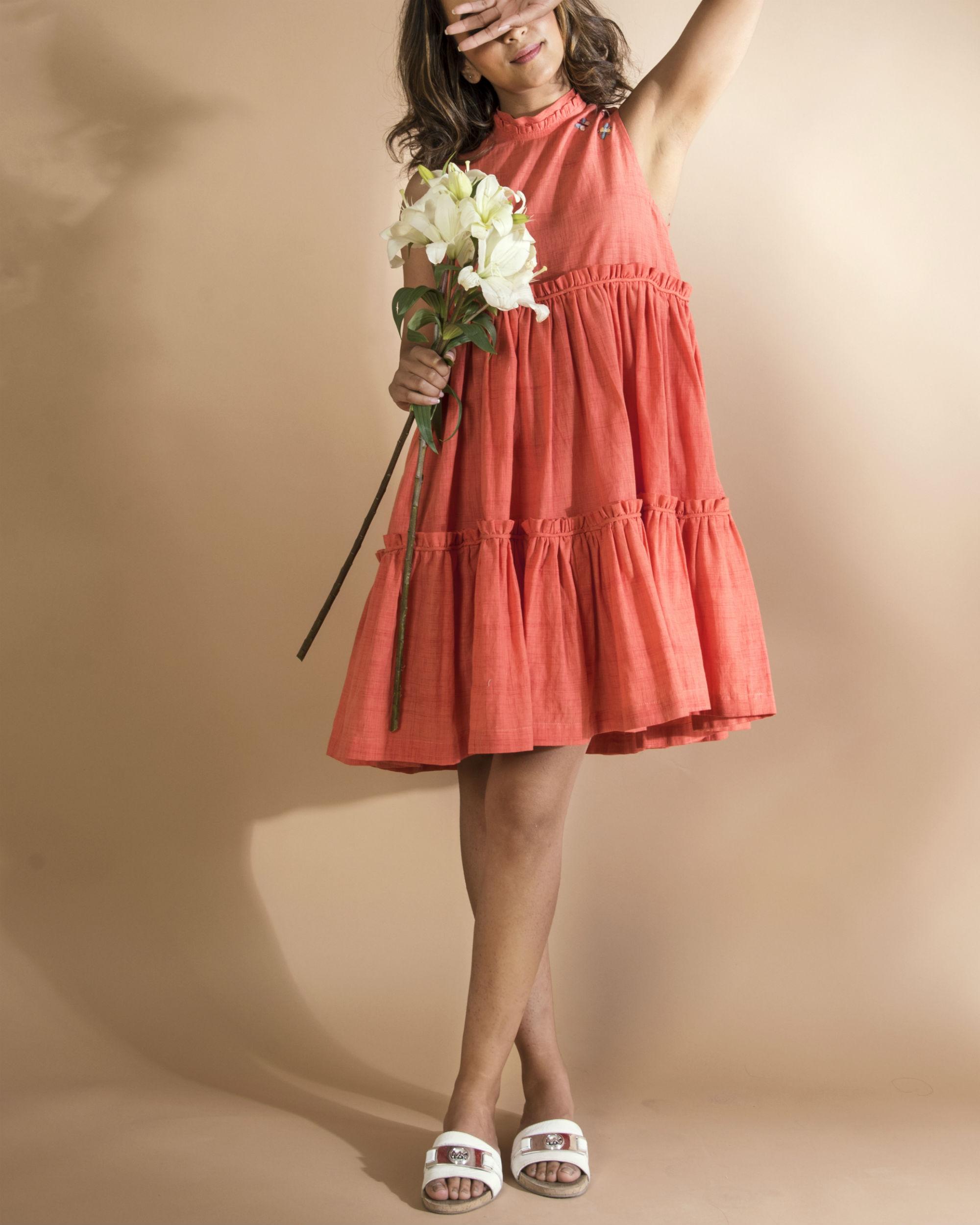 Tangerine bee swing dress