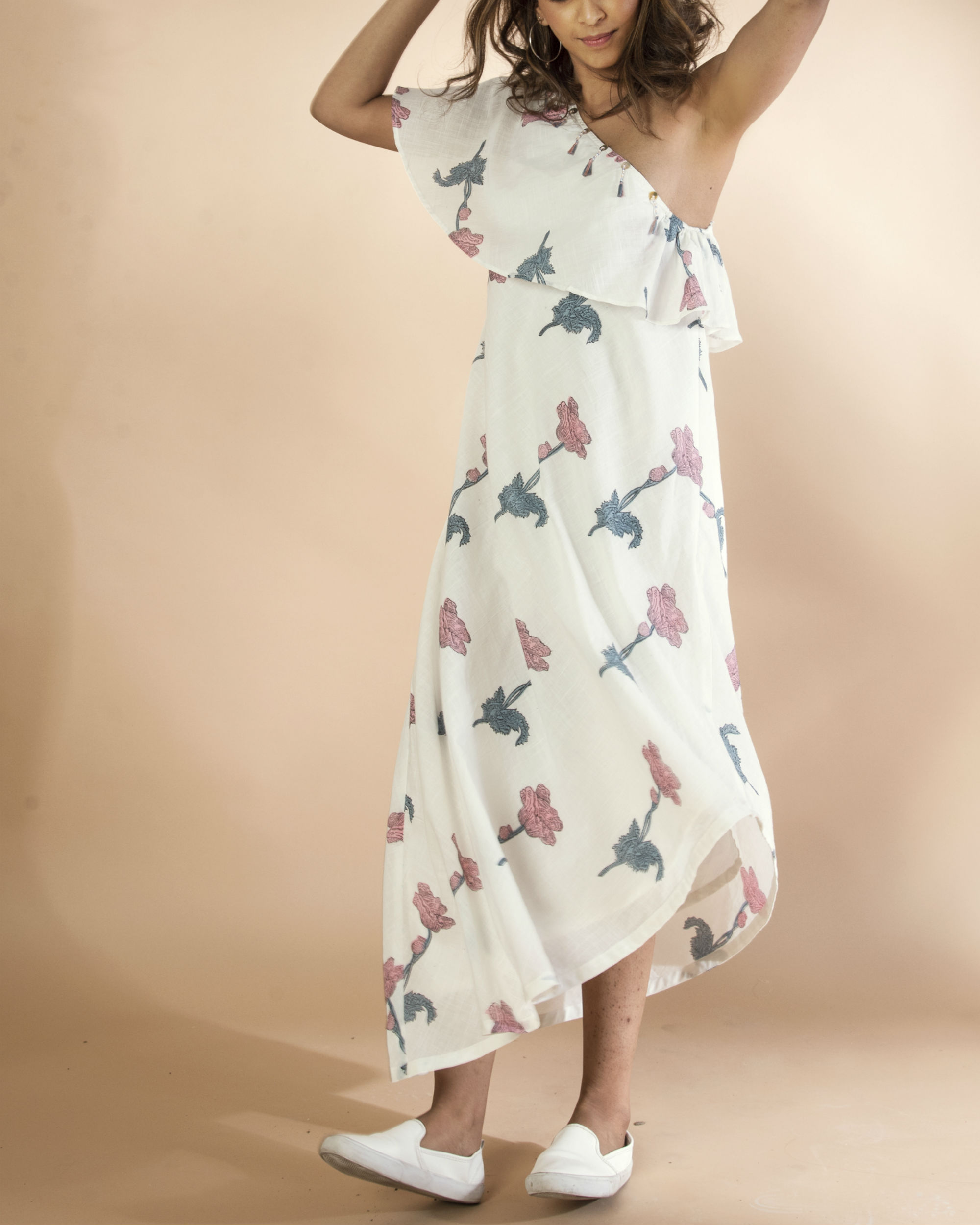 White slip and slide dress