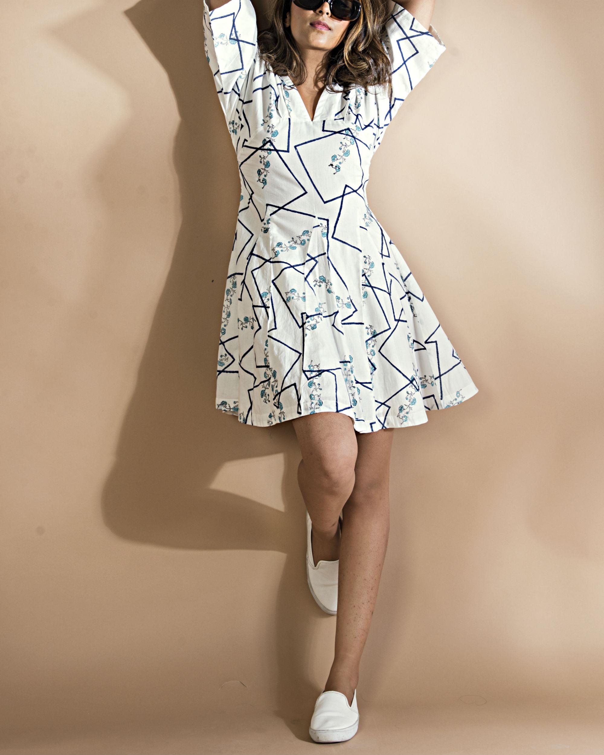 Geometric kimono flared  dress