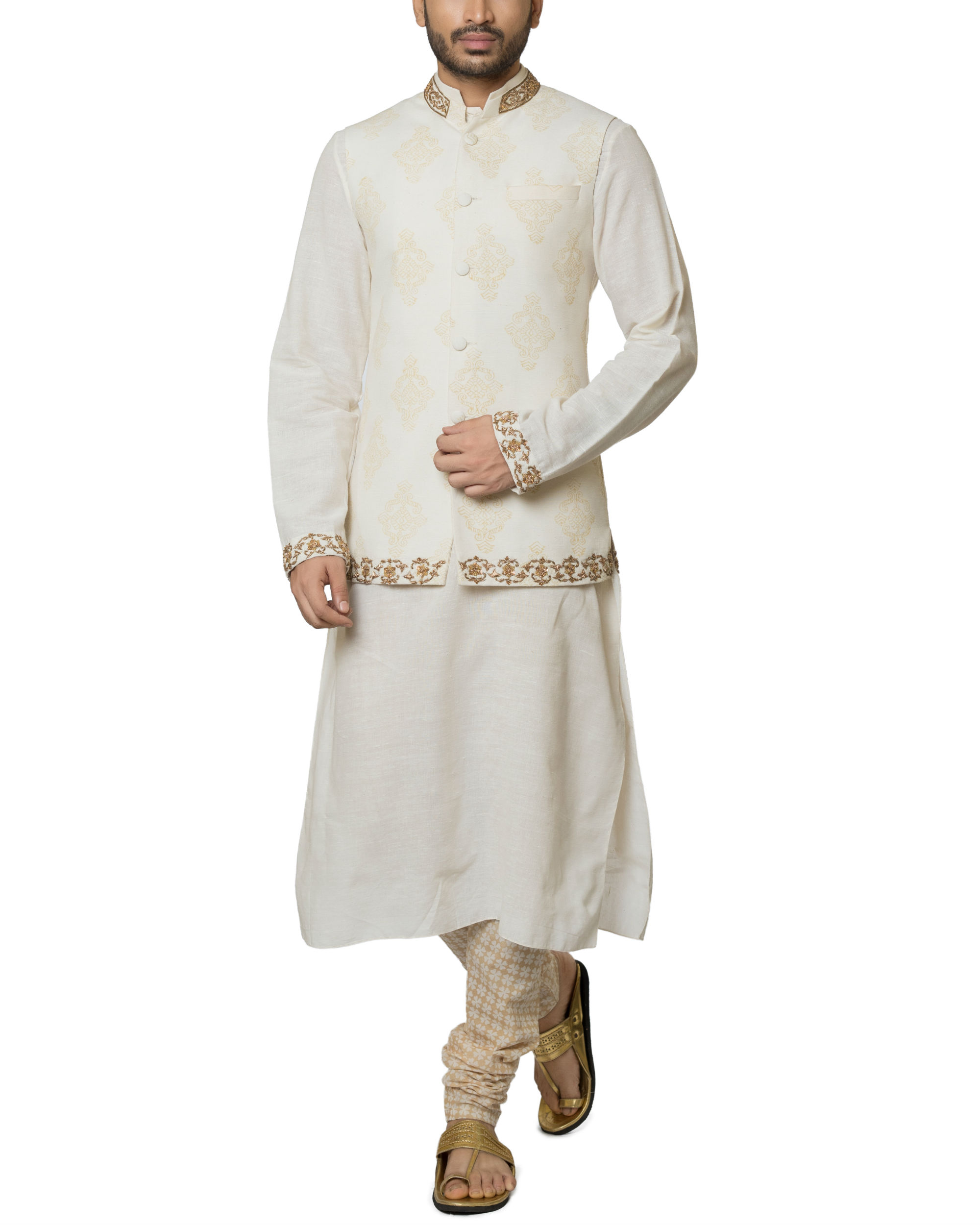 Khadi cotton hand embroidered kurta set