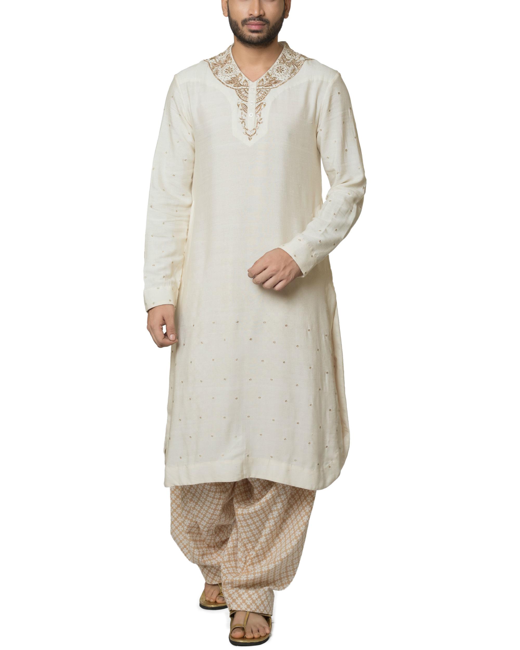 Cotton kurta with hand block printed patiala