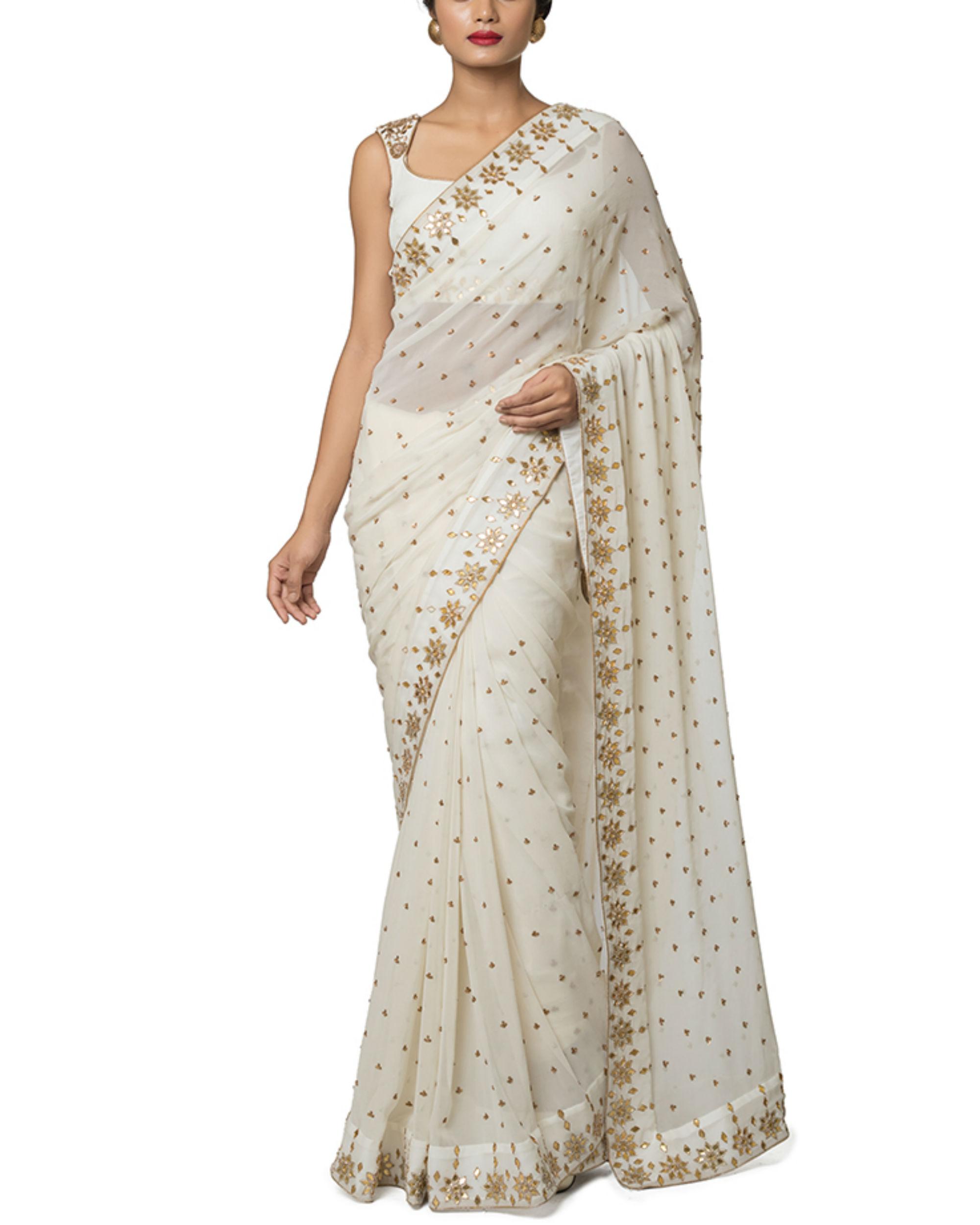 Ivory gota embroidered sari