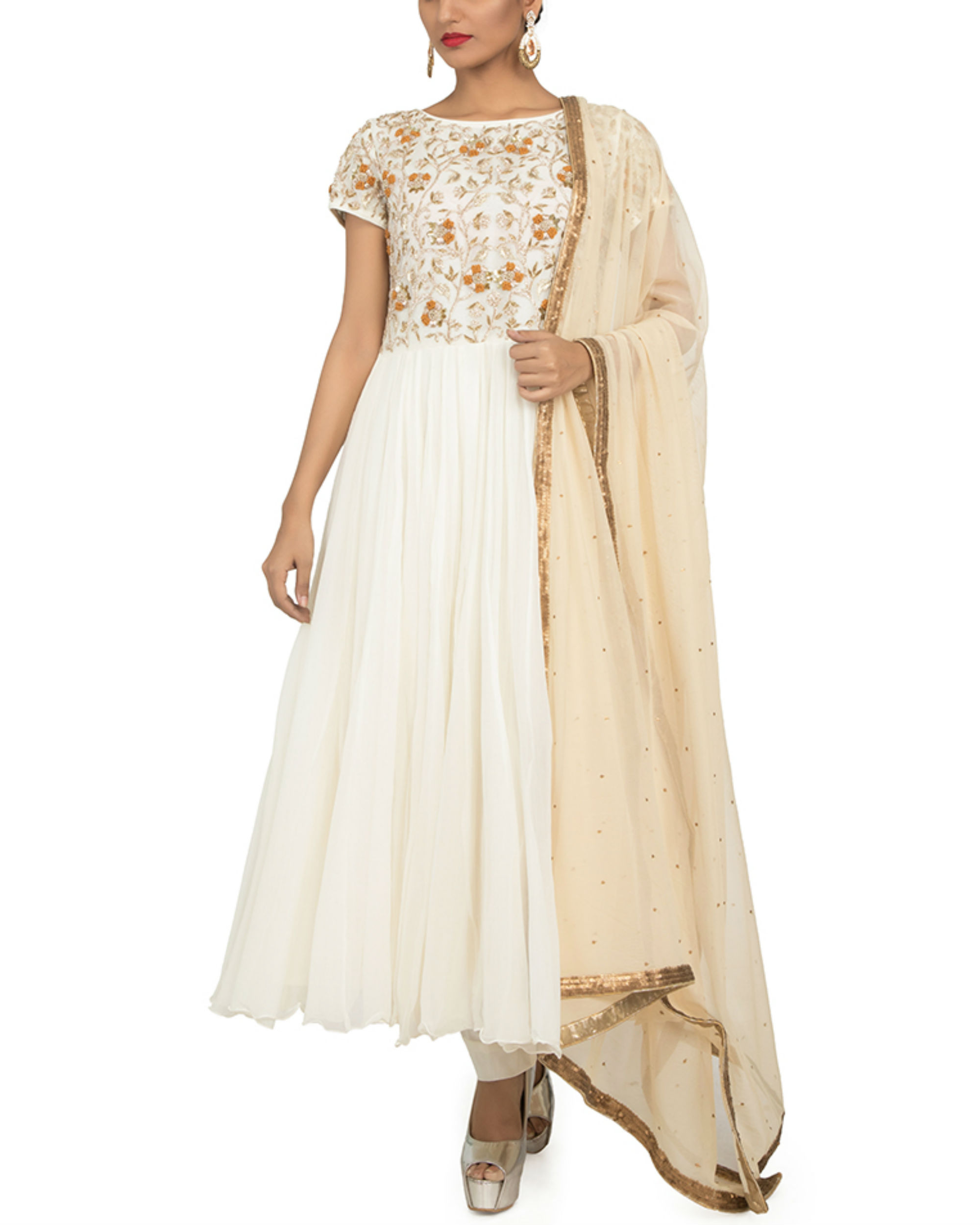 White zardozi anarkali set