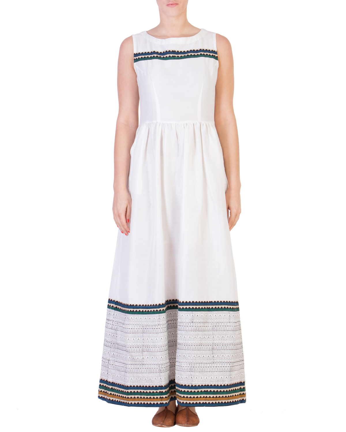 White maxi with printed detailing