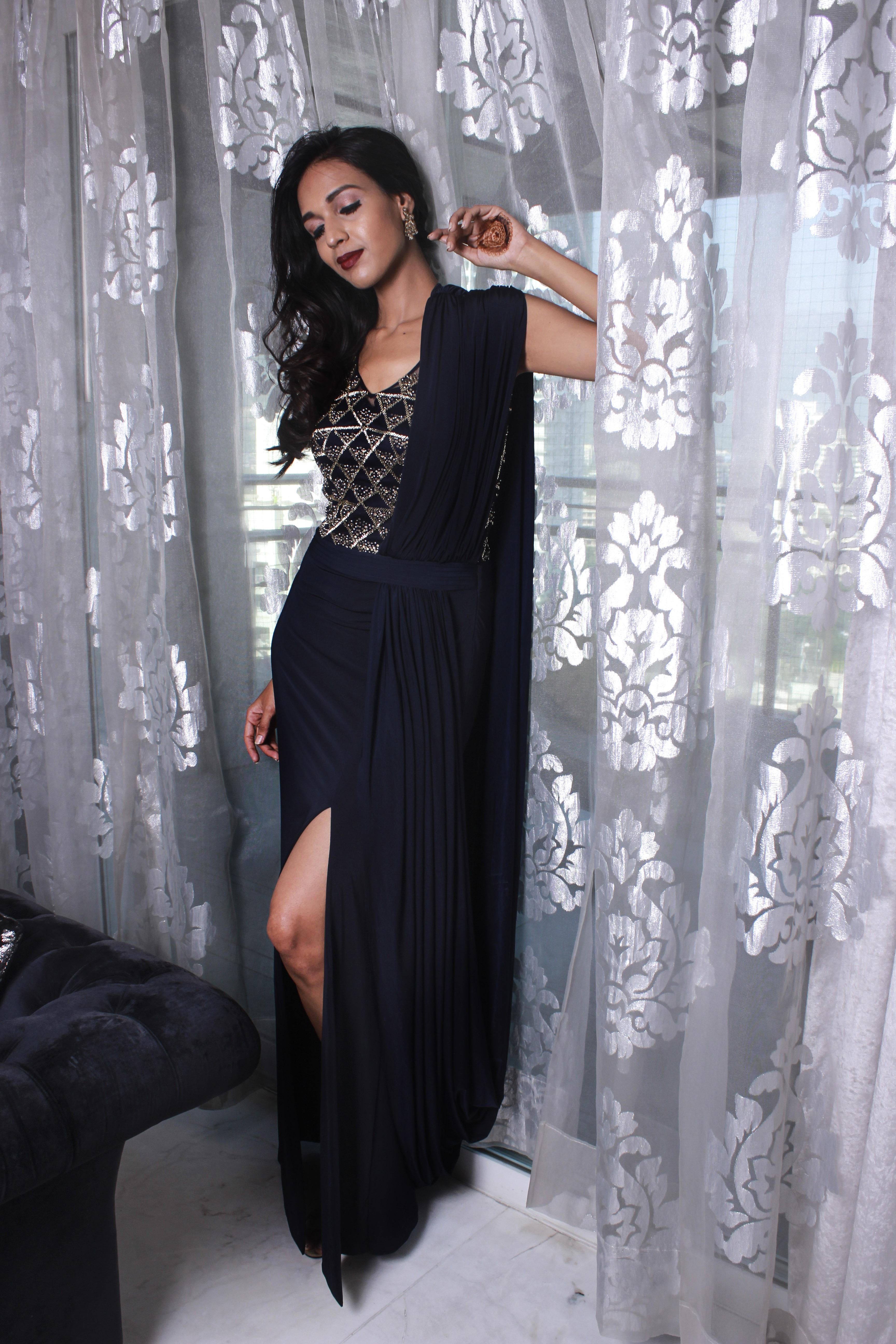 Midnight blue drape gown