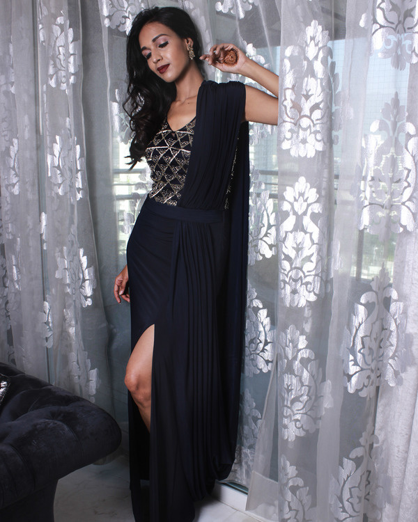 Midnight blue drape gown