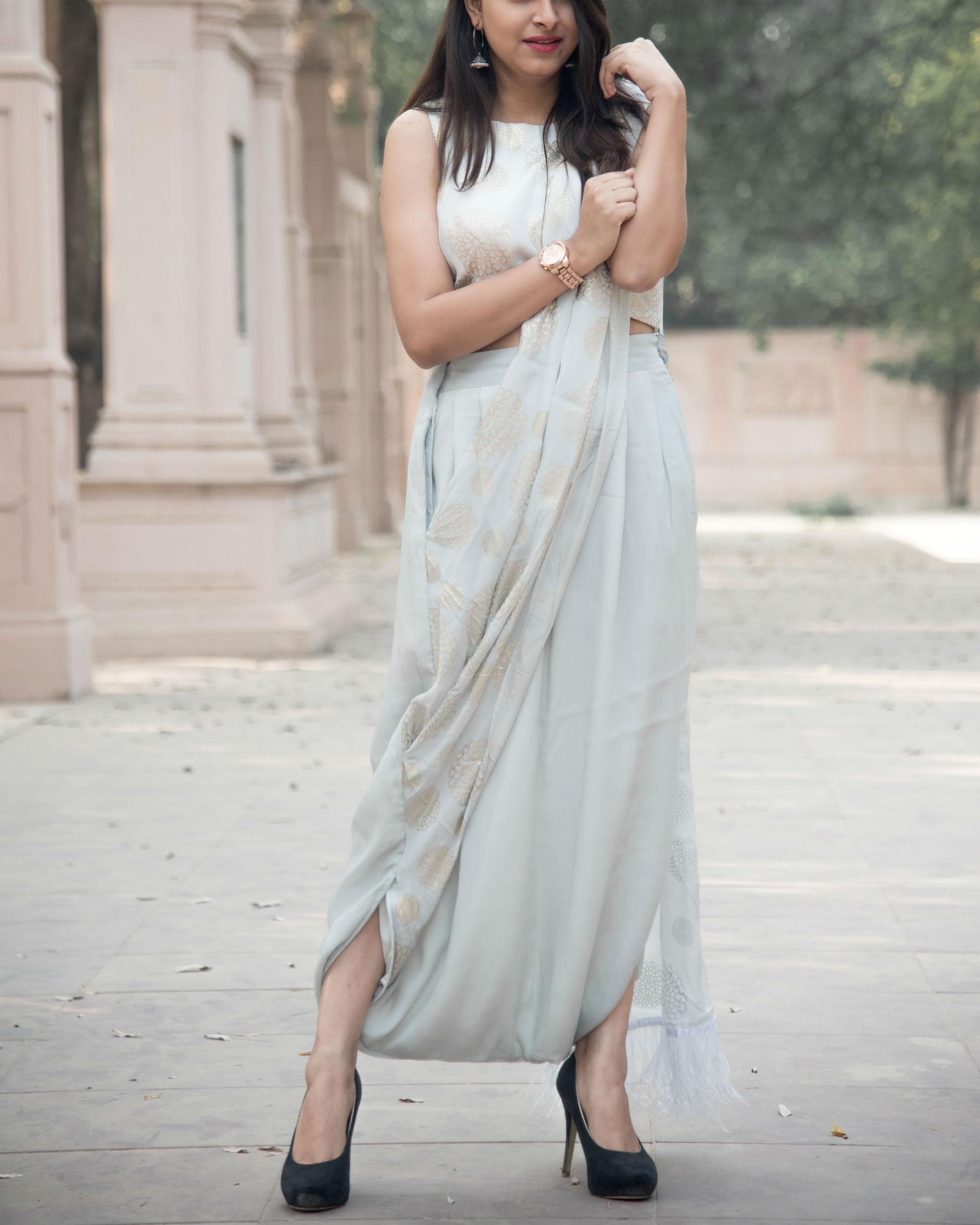 Grey dhoti sari