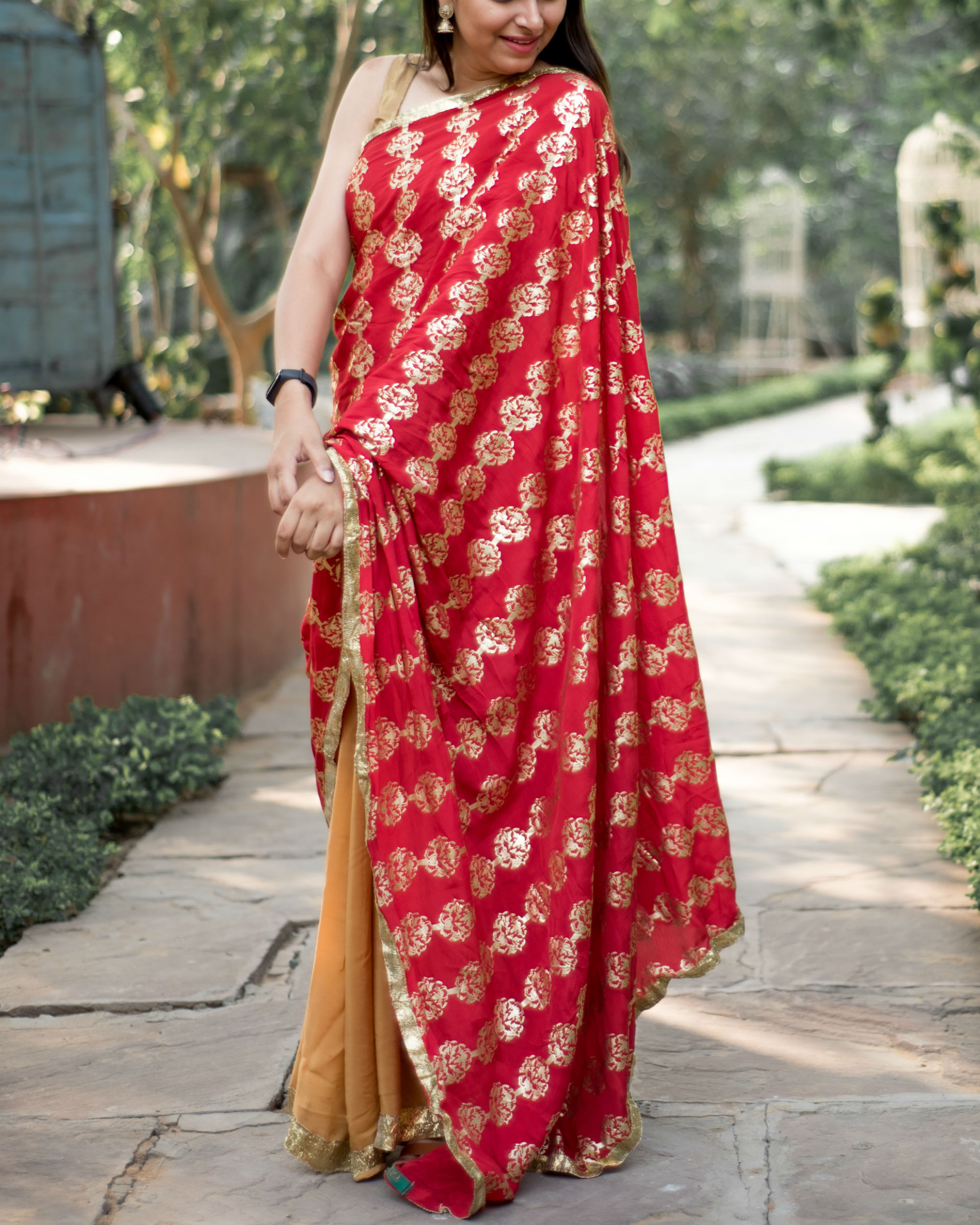 Red and brown printed sari