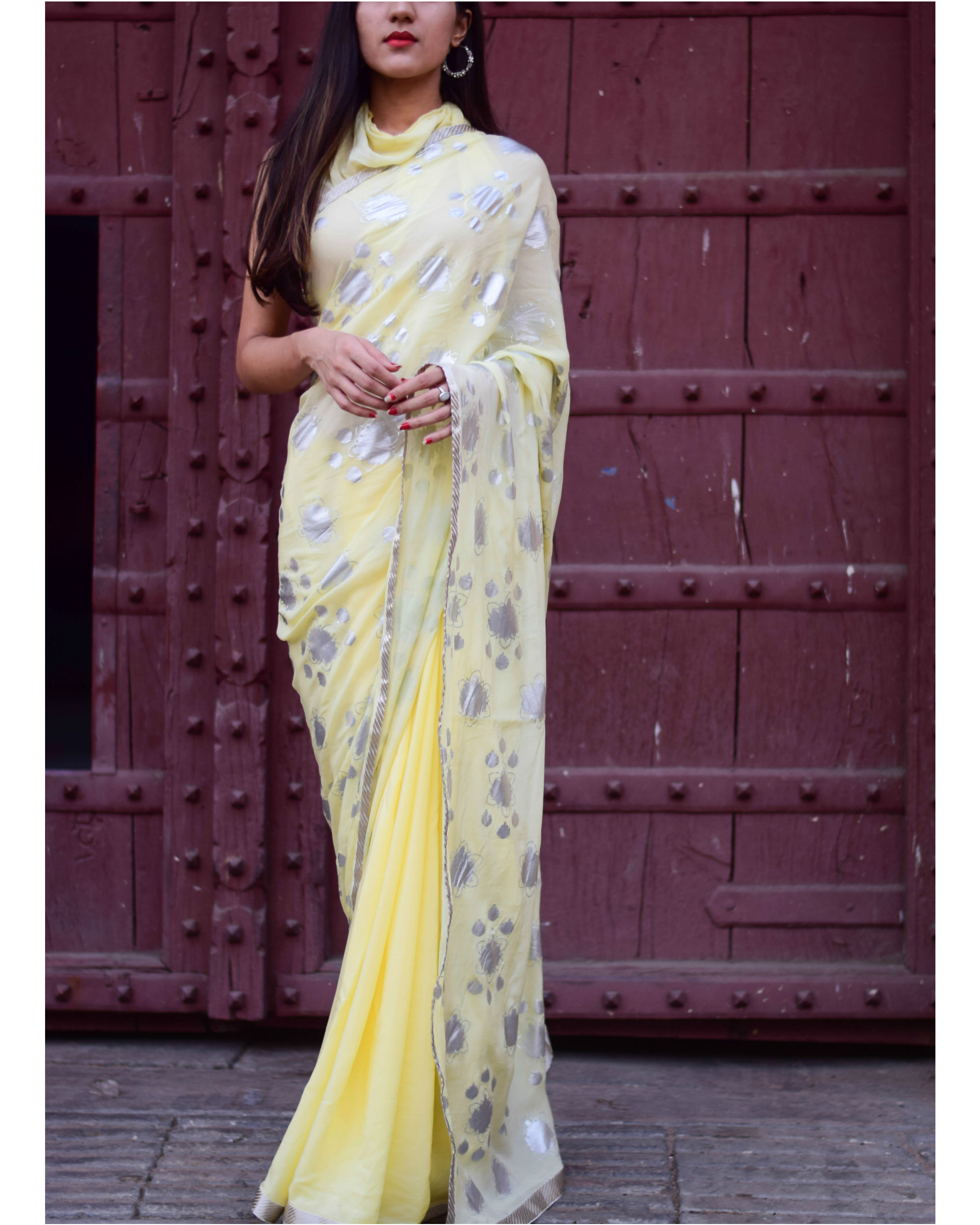 Yellow half and half sari