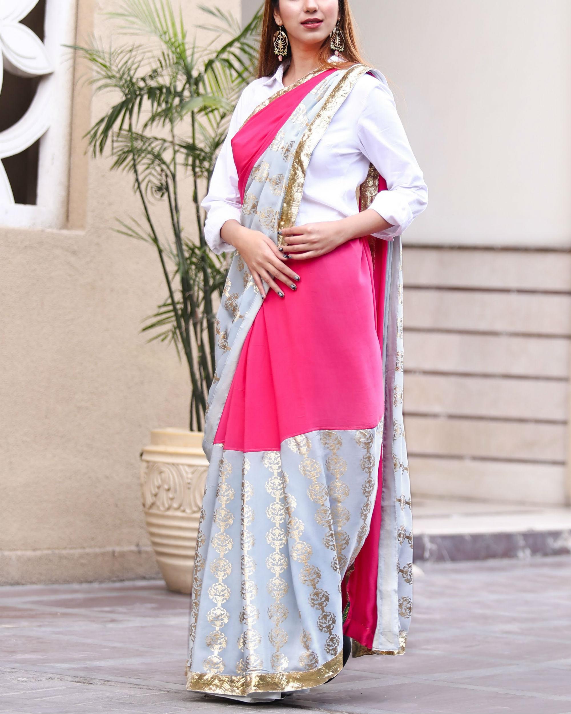 Grey and pink sari
