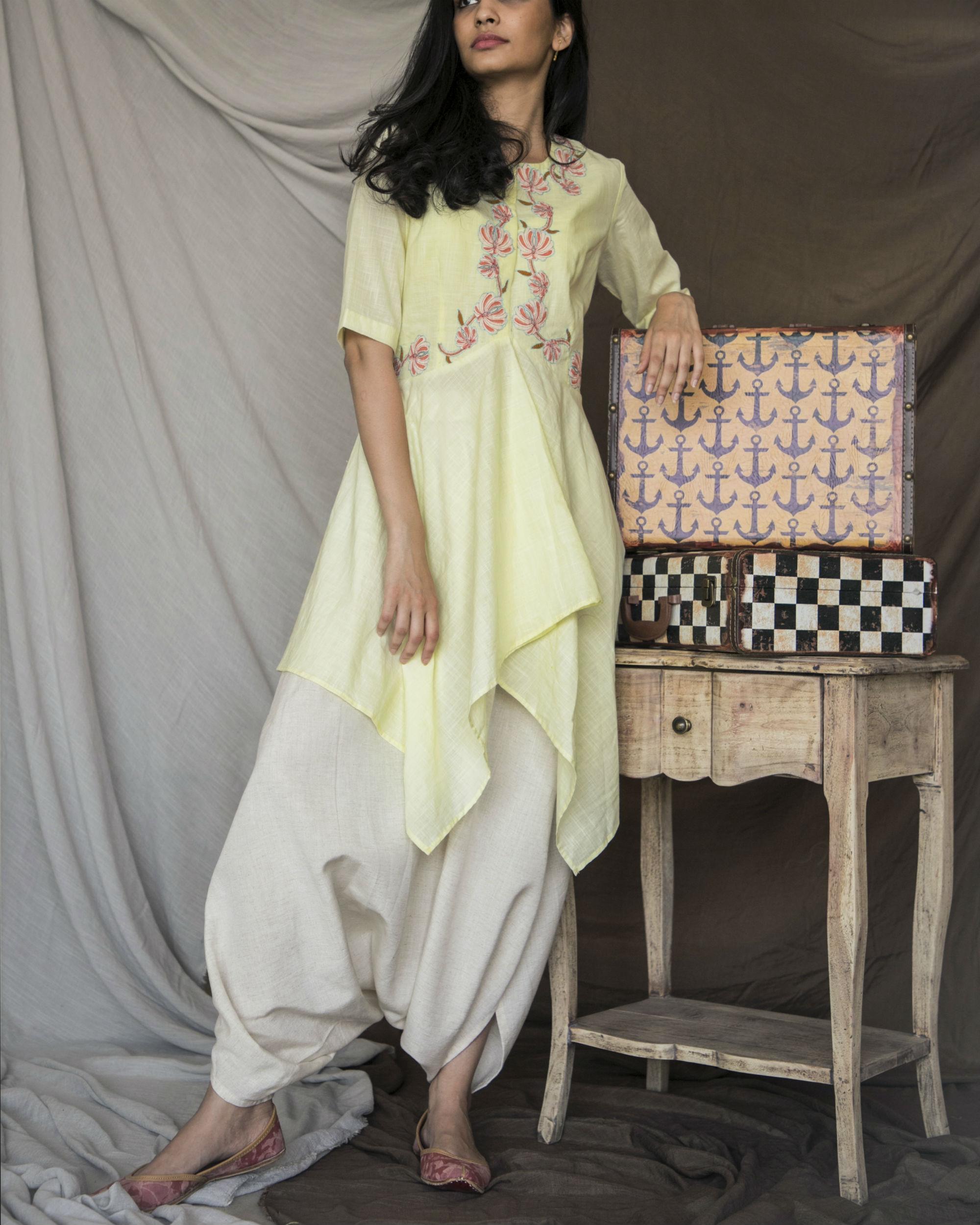 Pastel yellow handkerchief kurta with dhoti pants