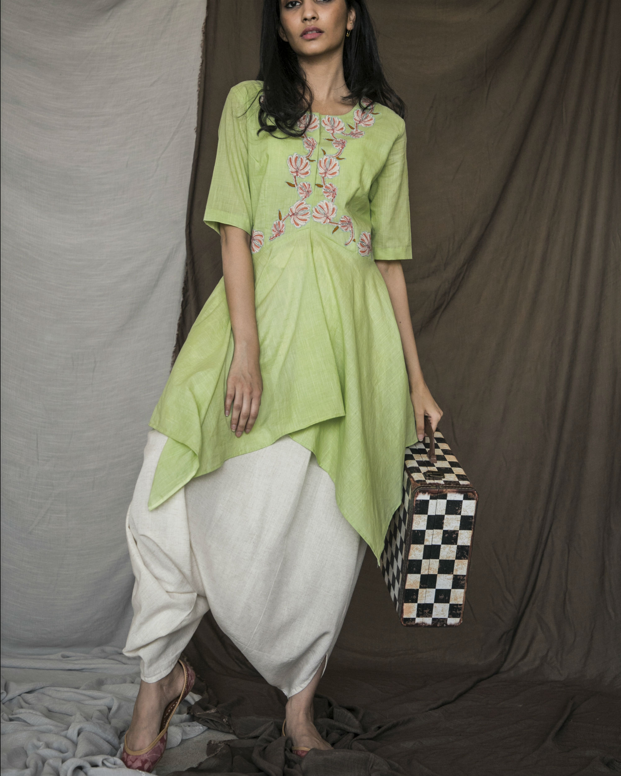 Parrot green handkerchief kurta with dhoti pants