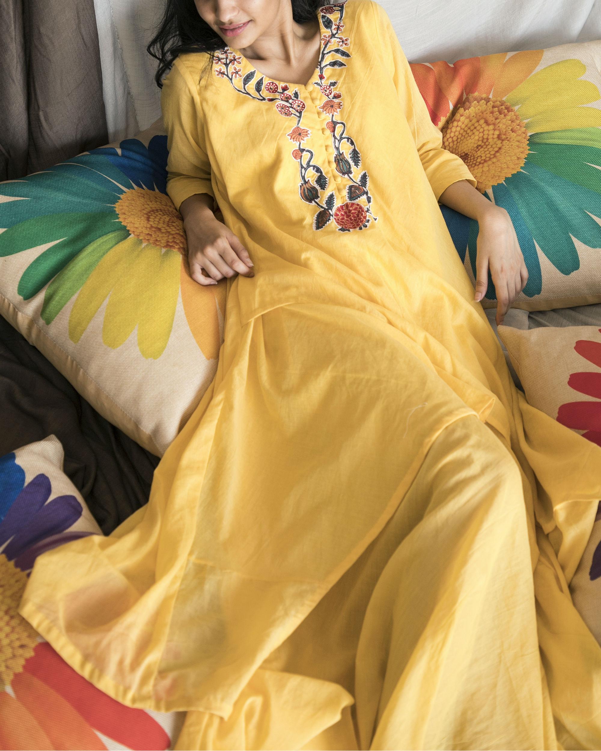 Yellow double layered kurta with pants