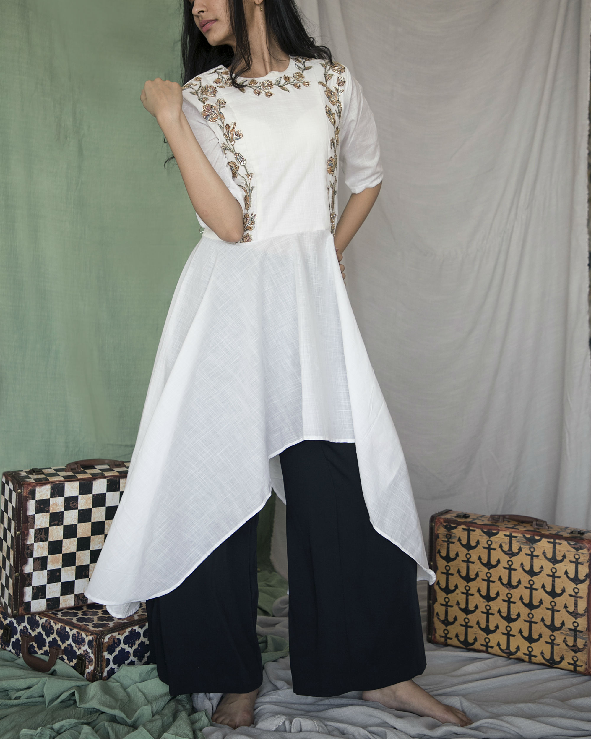 White high low cotton kurta