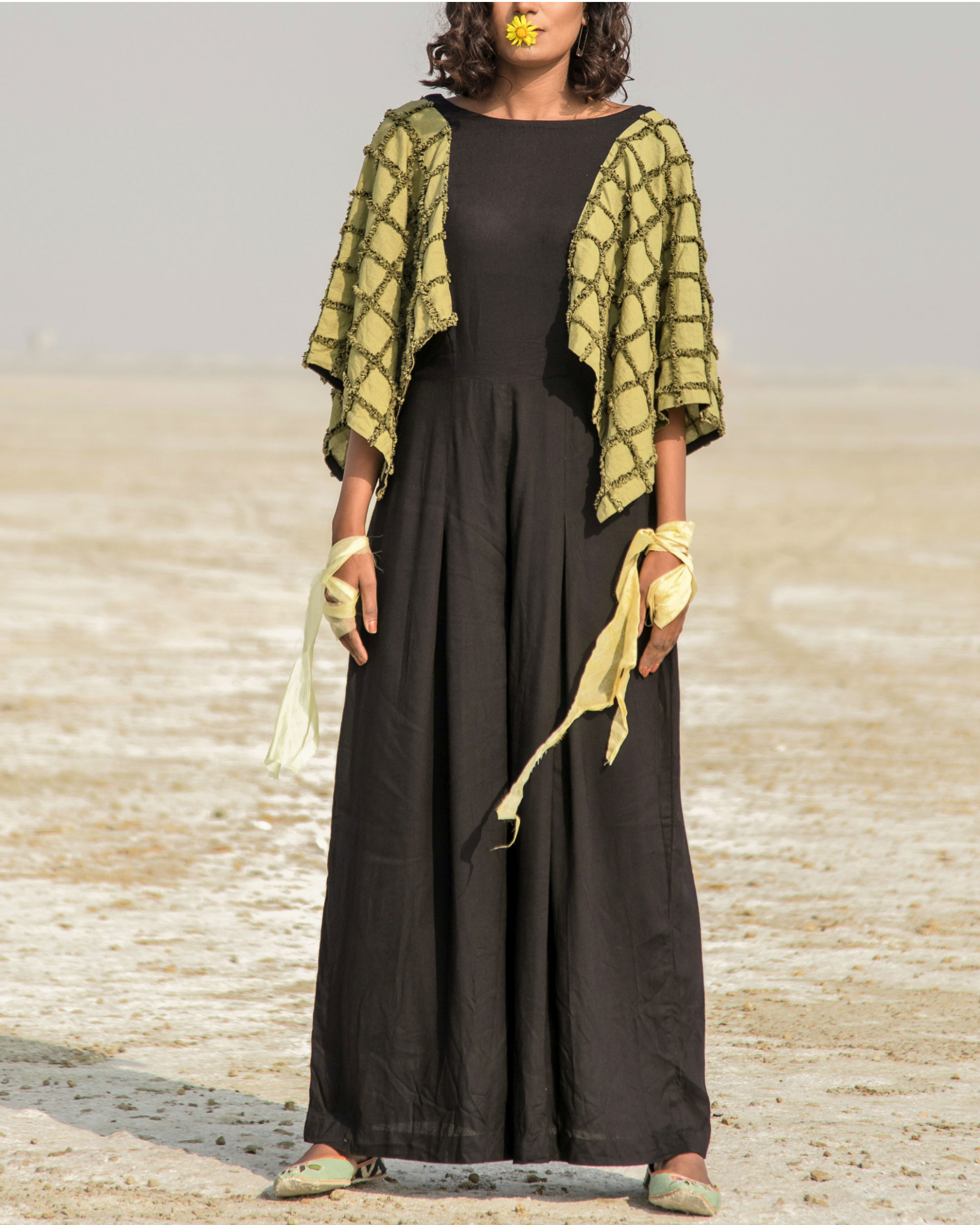 Olive green and black jumpsuit