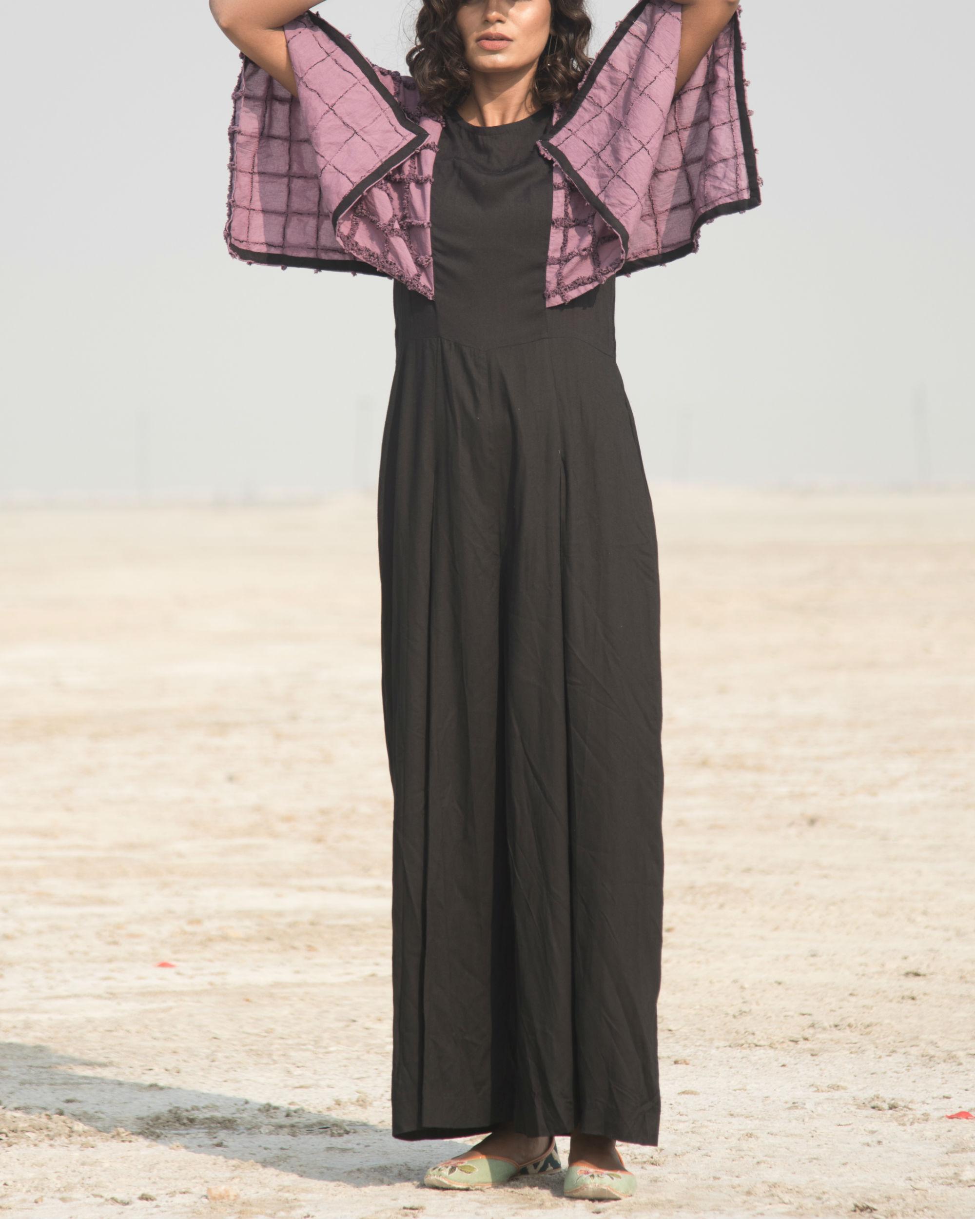 Mauve and black jumpsuit