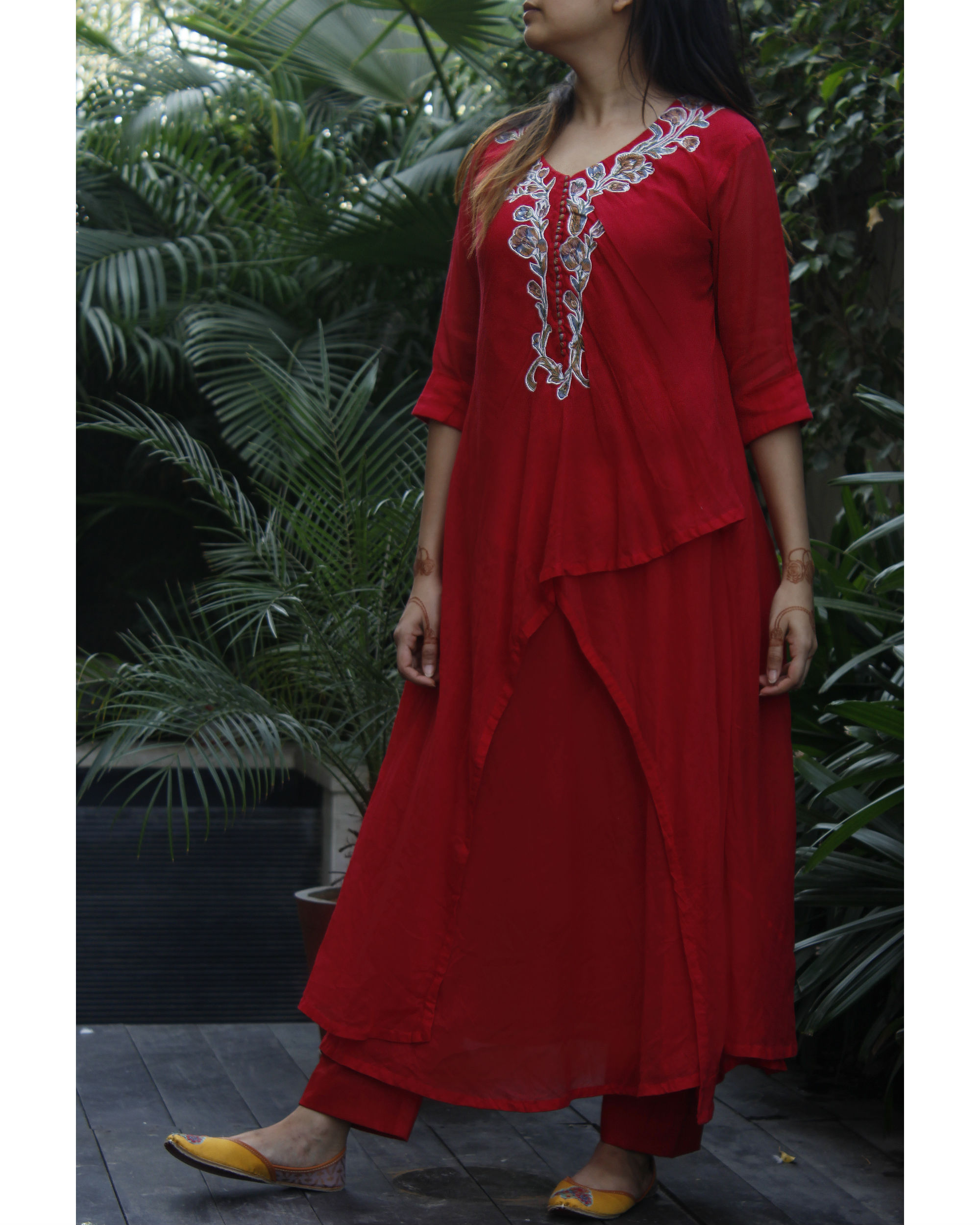 Red double layered kurta with pants