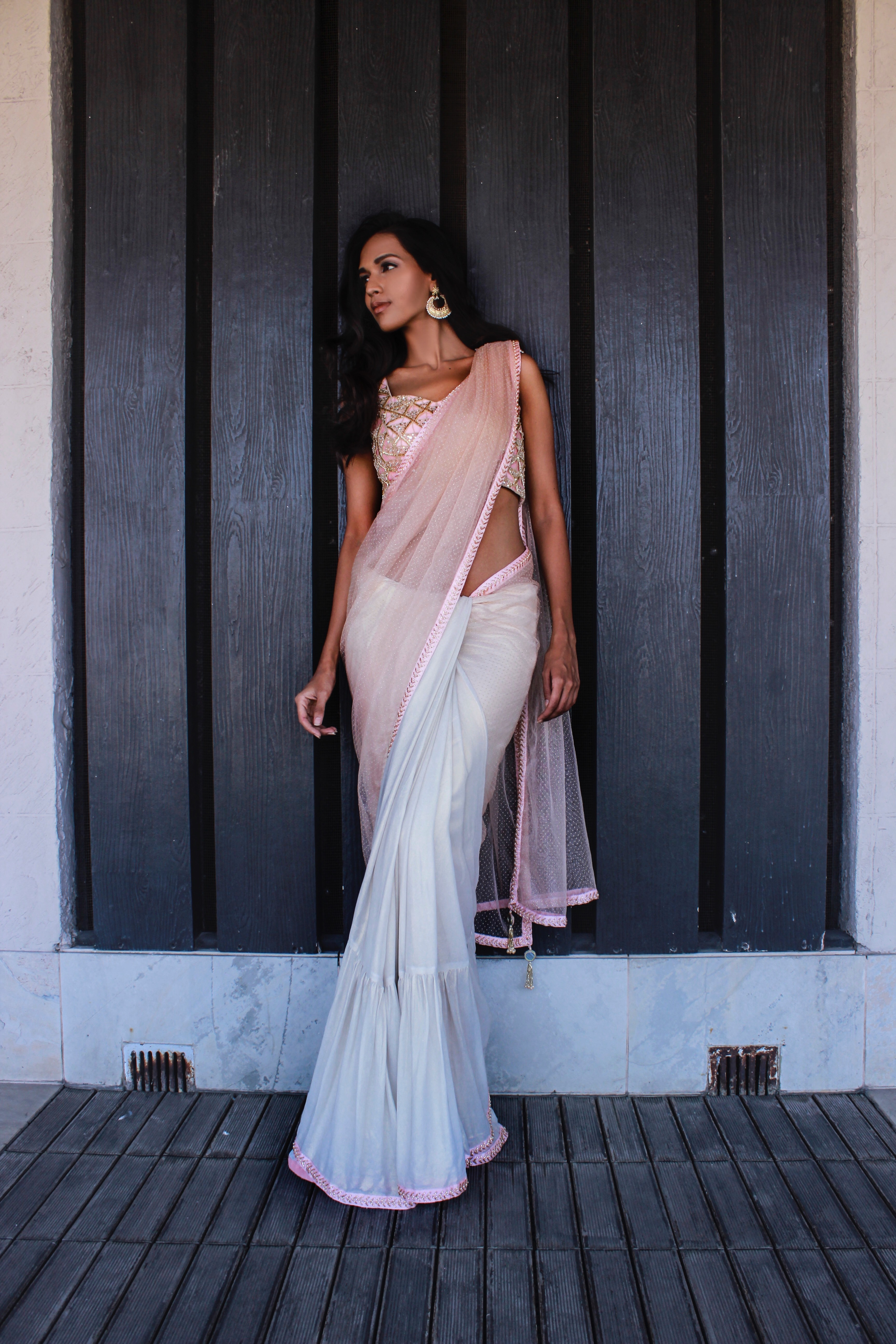 Nude peach blouse with gold and peach sari