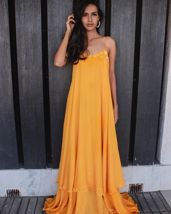 Sunset yellow strappy maxi dress