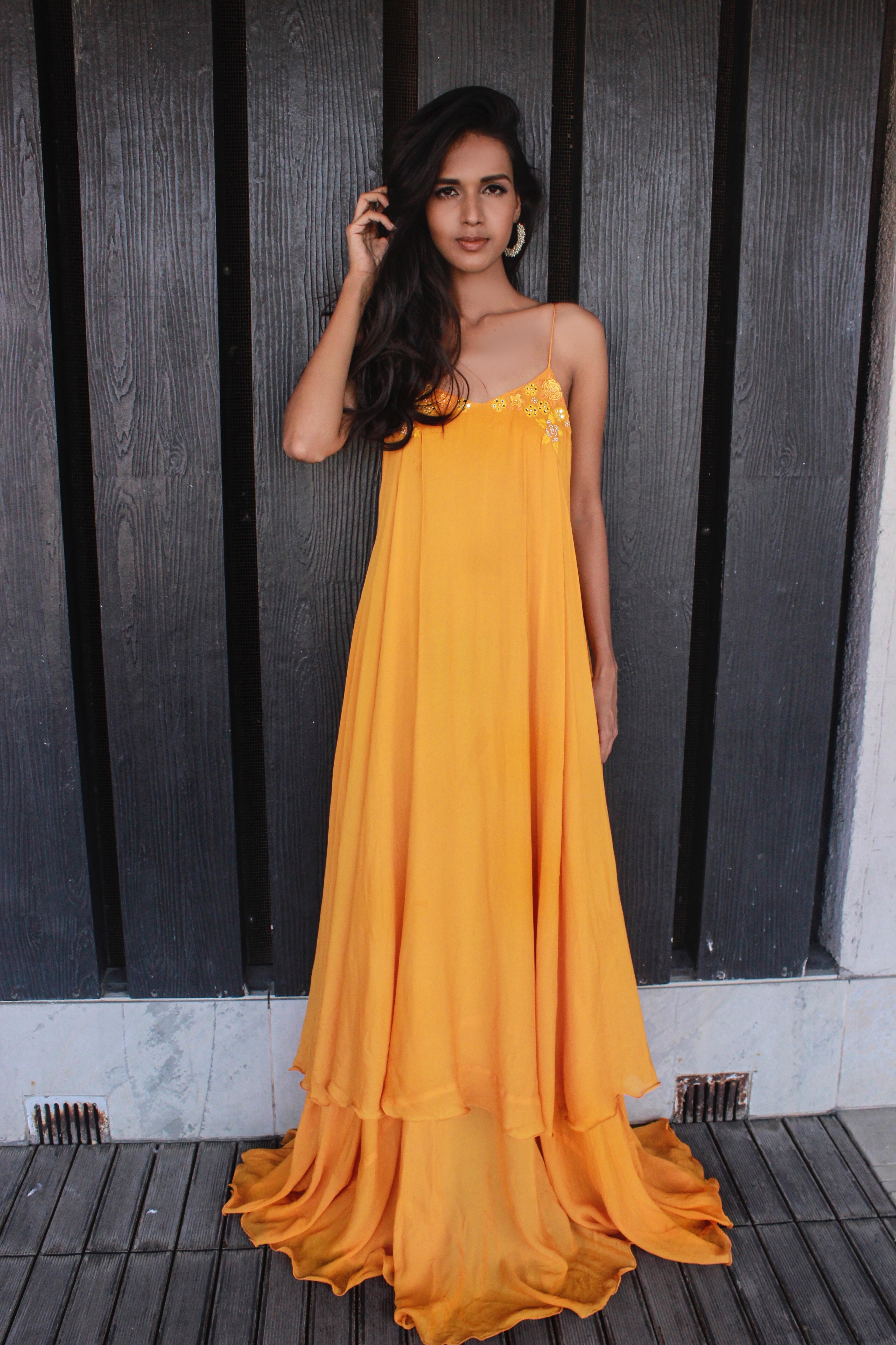 Sunset yellow strappy maxi dress