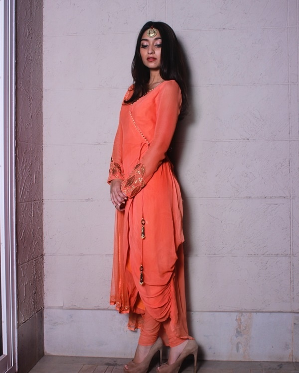 Peach overlap draped kurta set