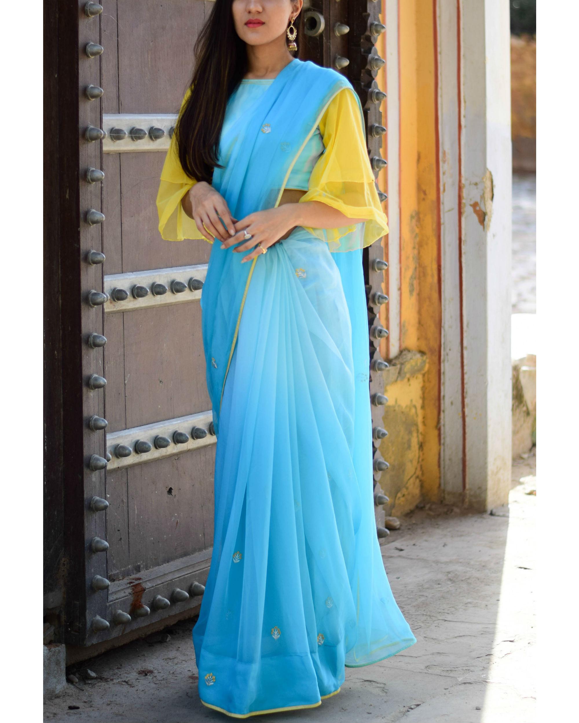 Blue mughal flower motif sari