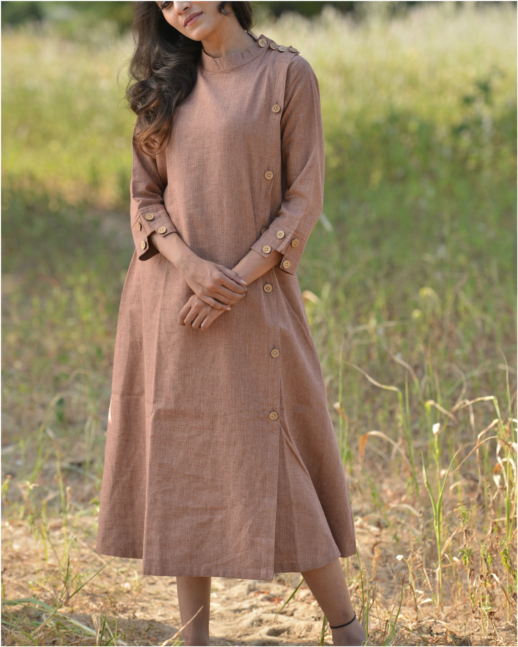 Brown trench dress