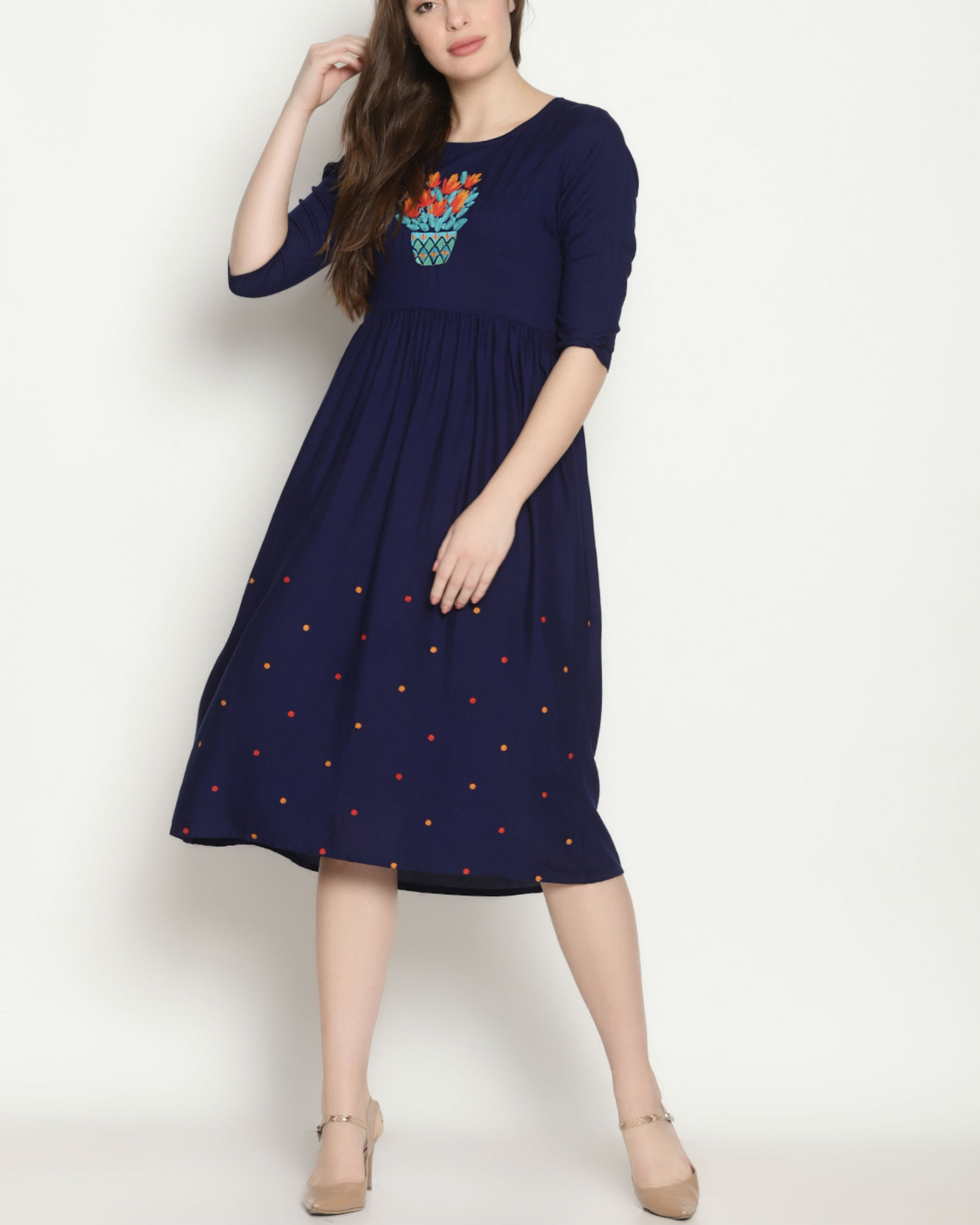 3ed099aee8e1 Blue embroidered polka dress by UNTUNG | The Secret Label